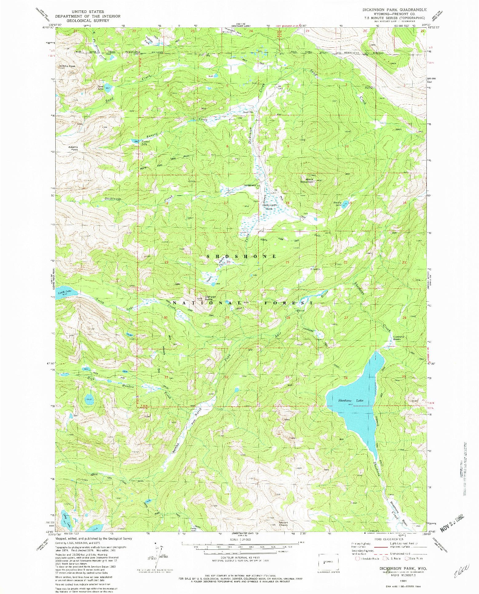 USGS 1:24000-SCALE QUADRANGLE FOR DICKINSON PARK, WY 1981