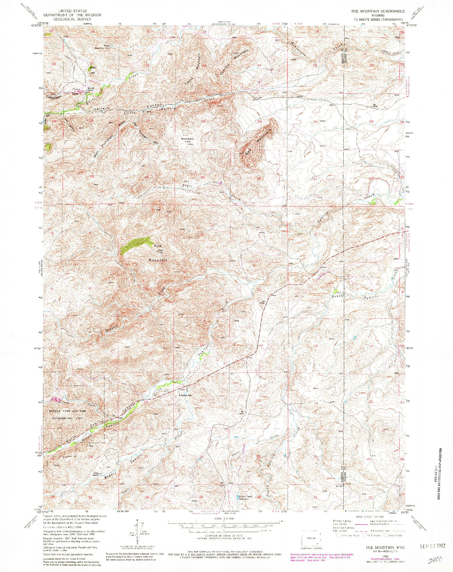 USGS 1:24000-SCALE QUADRANGLE FOR POE MOUNTAIN, WY 1955