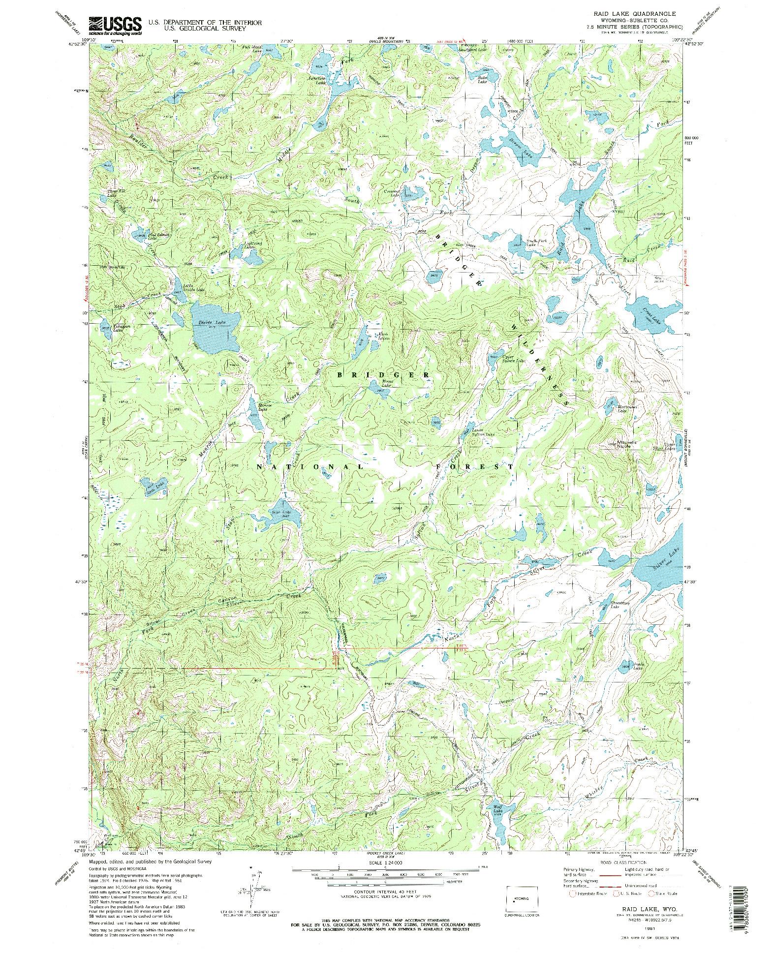 USGS 1:24000-SCALE QUADRANGLE FOR RAID LAKE, WY 1981
