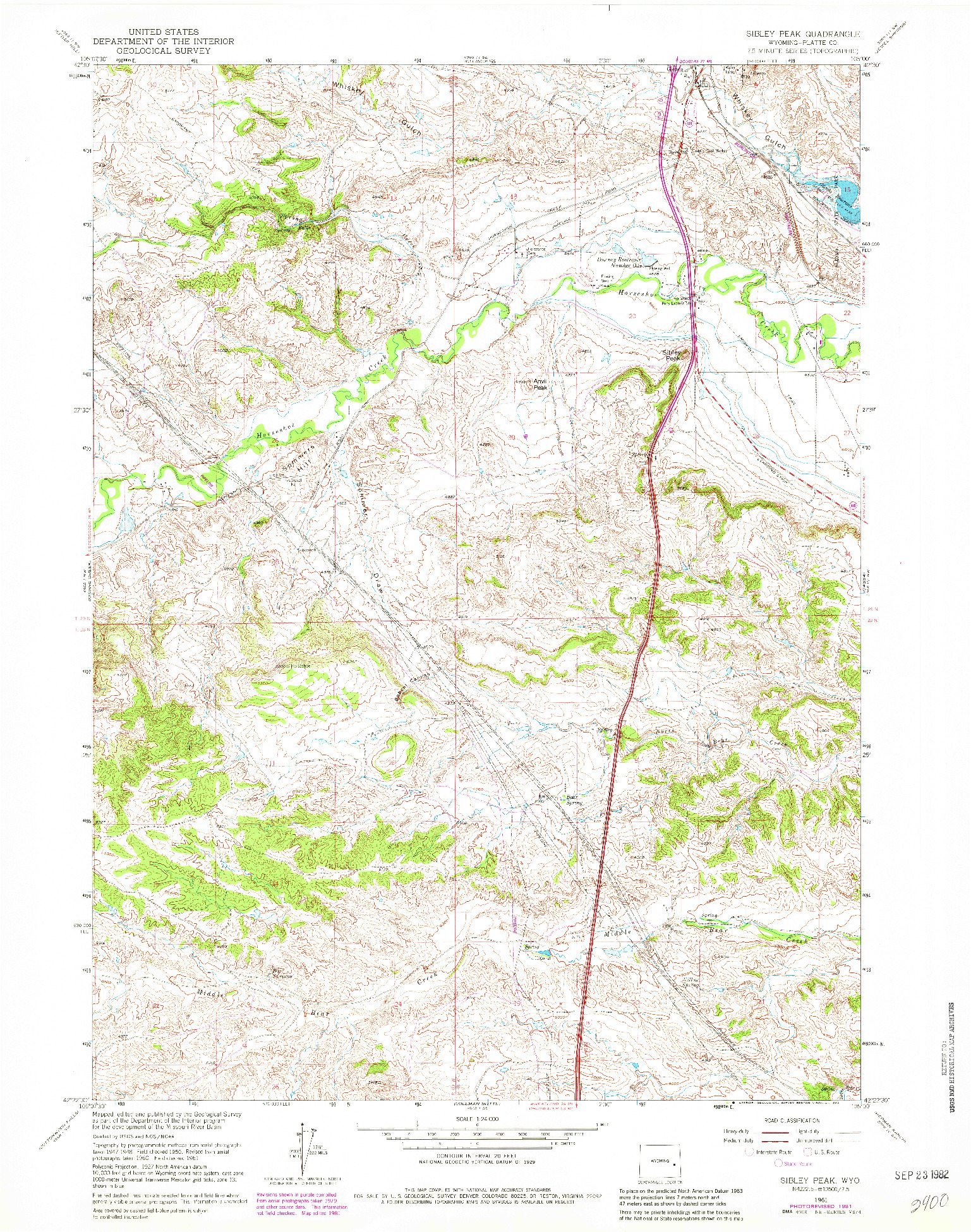 USGS 1:24000-SCALE QUADRANGLE FOR SIBLEY PEAK, WY 1961