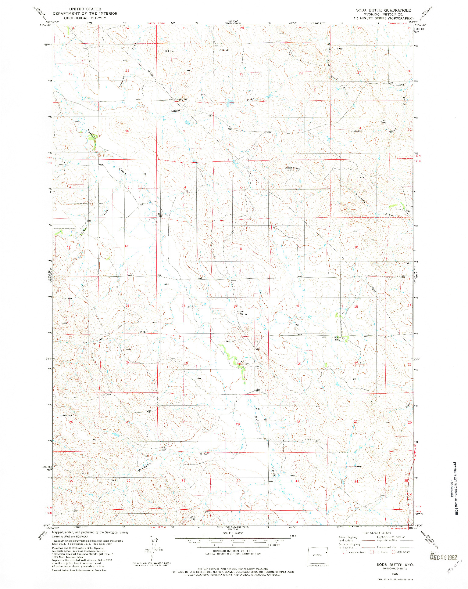 USGS 1:24000-SCALE QUADRANGLE FOR SODA BUTTE, WY 1982