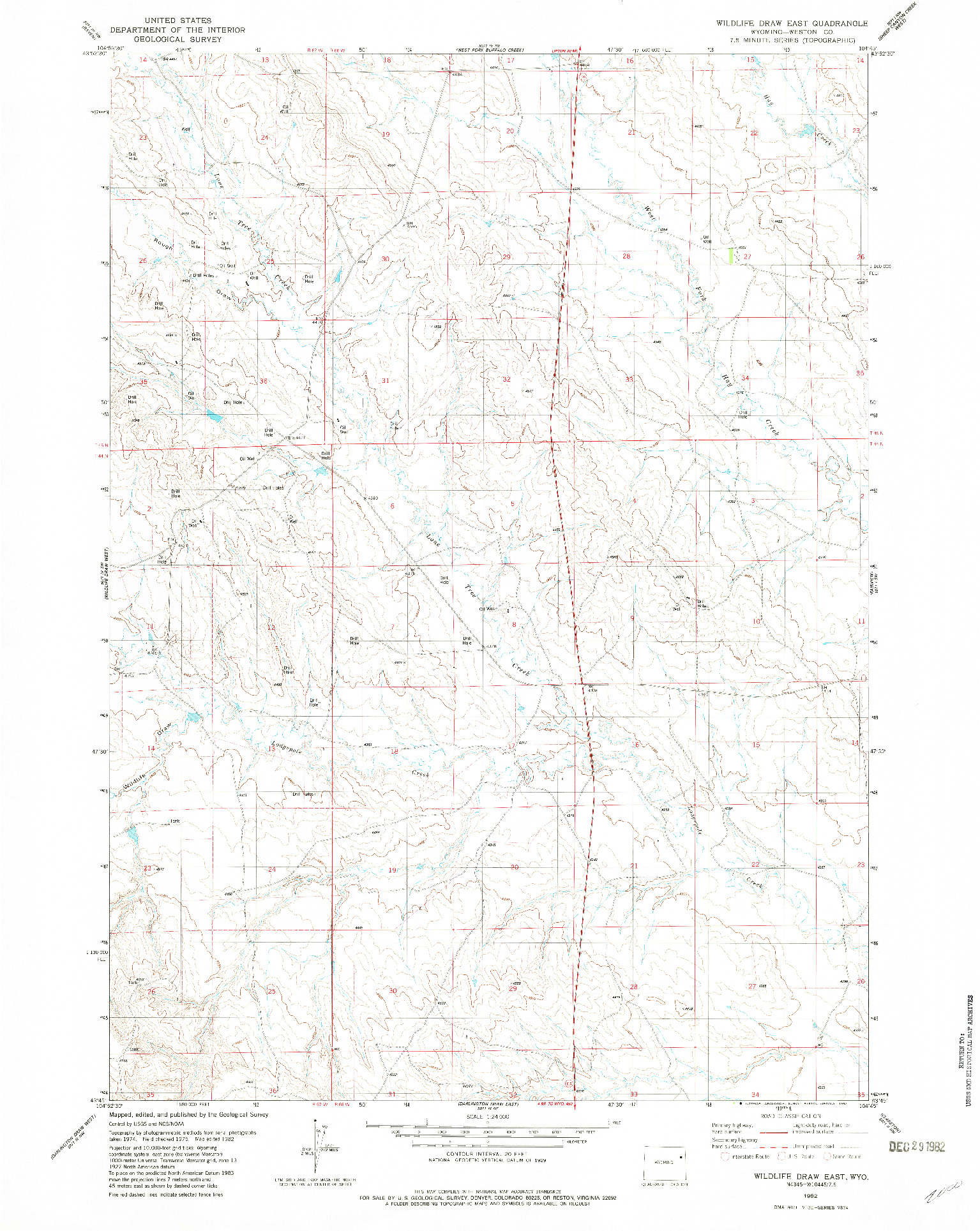 USGS 1:24000-SCALE QUADRANGLE FOR WILDLIFE DRAW EAST, WY 1982