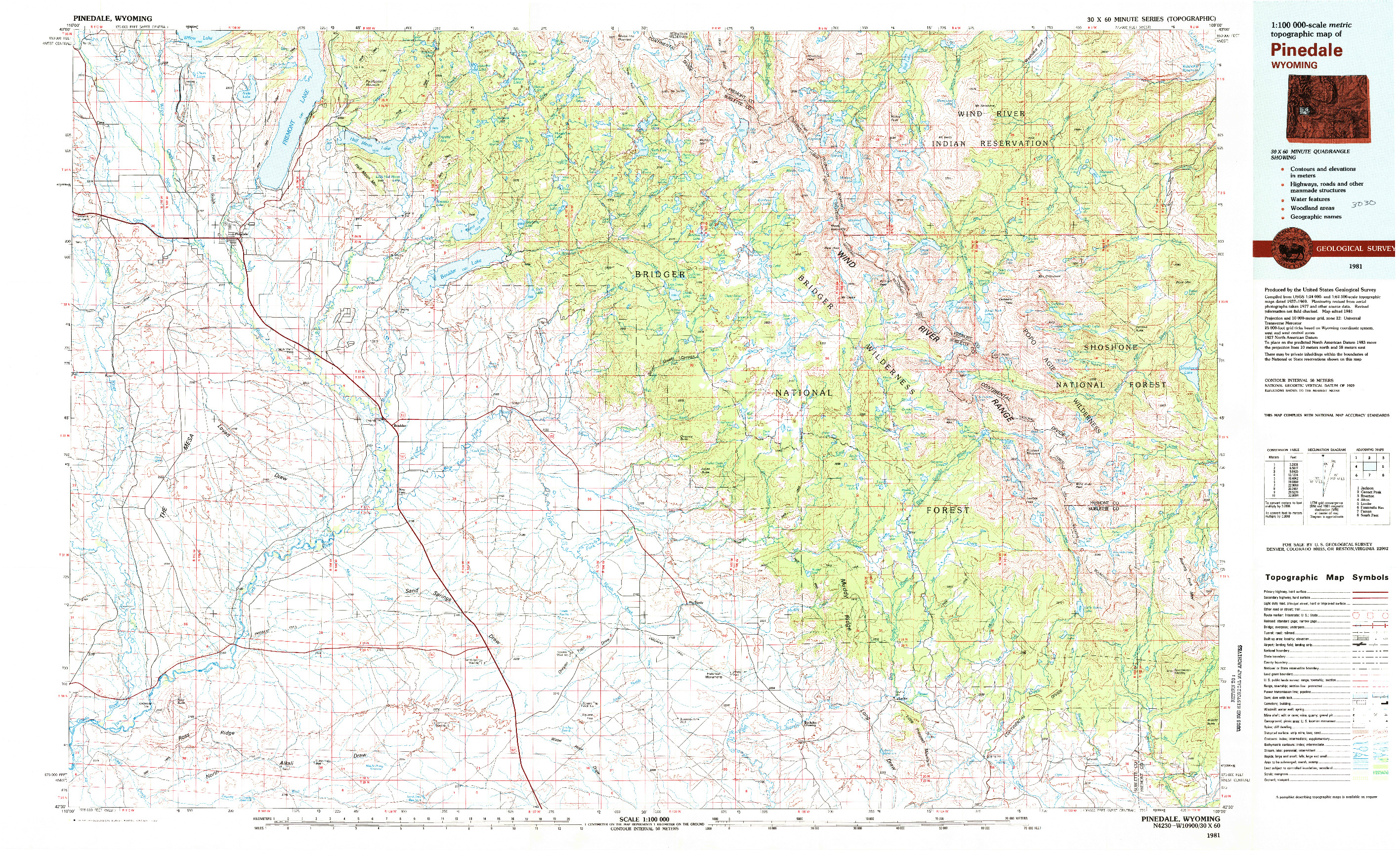 USGS 1:100000-SCALE QUADRANGLE FOR PINEDALE, WY 1981