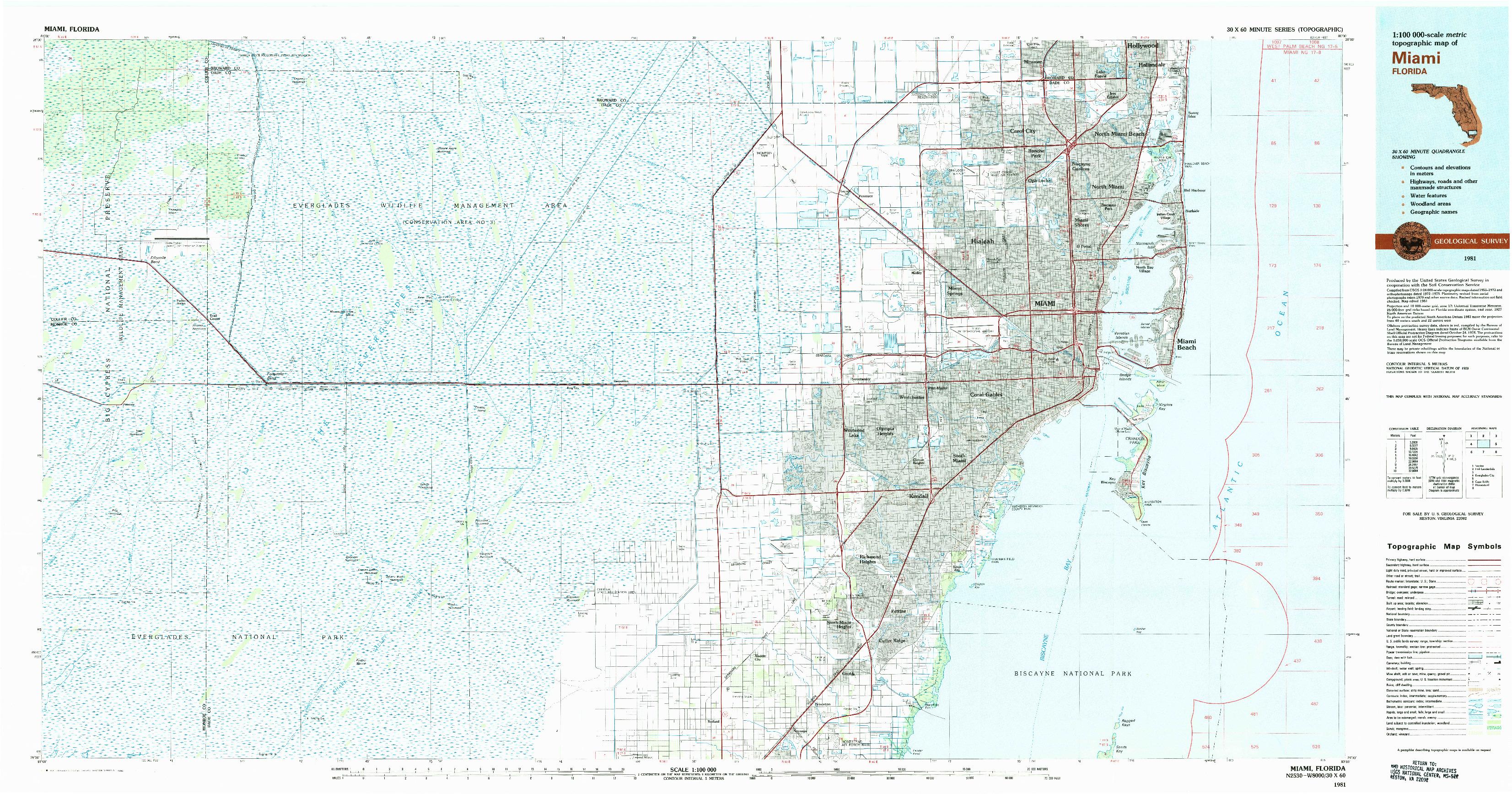 USGS 1:100000-SCALE QUADRANGLE FOR MIAMI, FL 1981