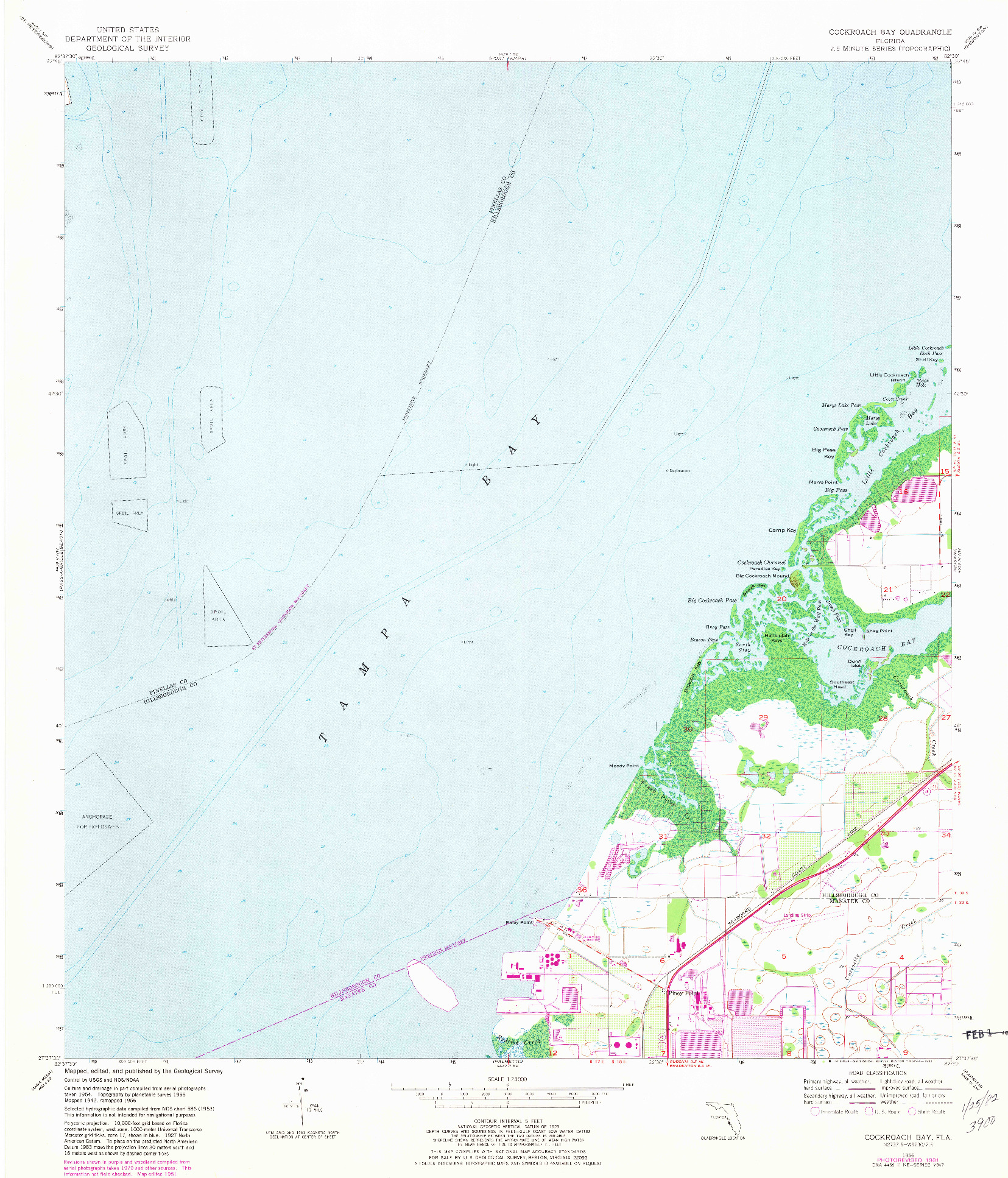 USGS 1:24000-SCALE QUADRANGLE FOR COCKROACH BAY, FL 1956