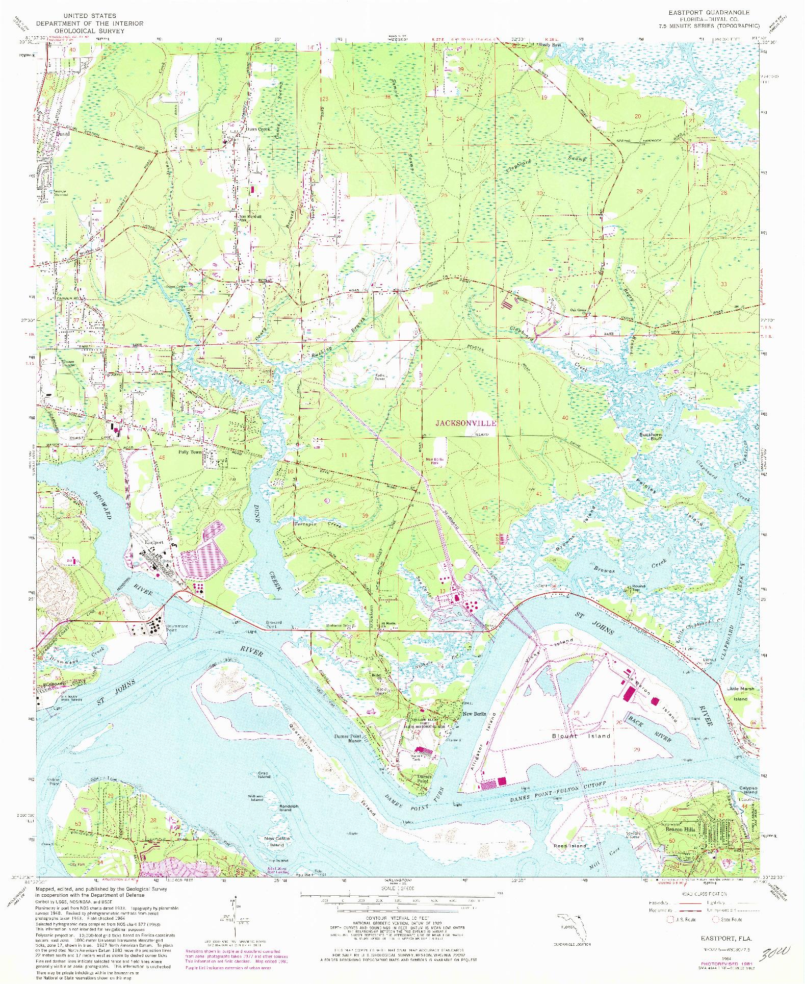 USGS 1:24000-SCALE QUADRANGLE FOR EASTPORT, FL 1964