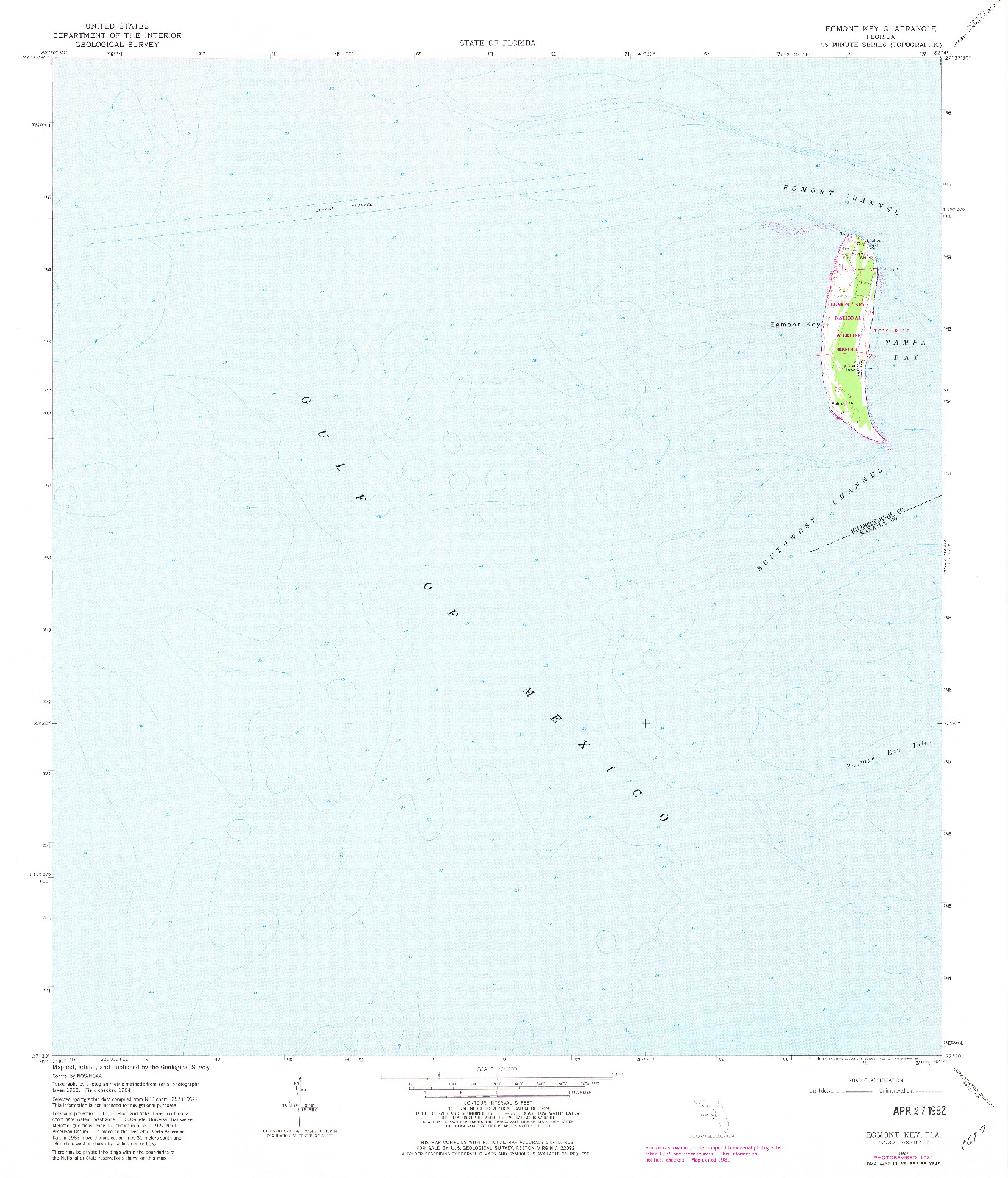 USGS 1:24000-SCALE QUADRANGLE FOR EGMONT KEY, FL 1964
