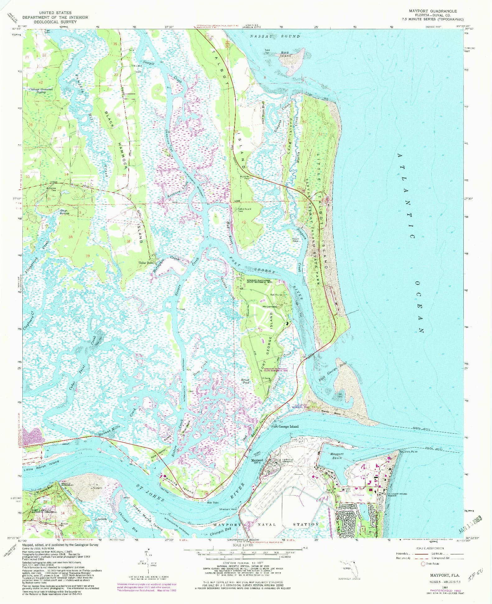 USGS 1:24000-SCALE QUADRANGLE FOR MAYPORT, FL 1964