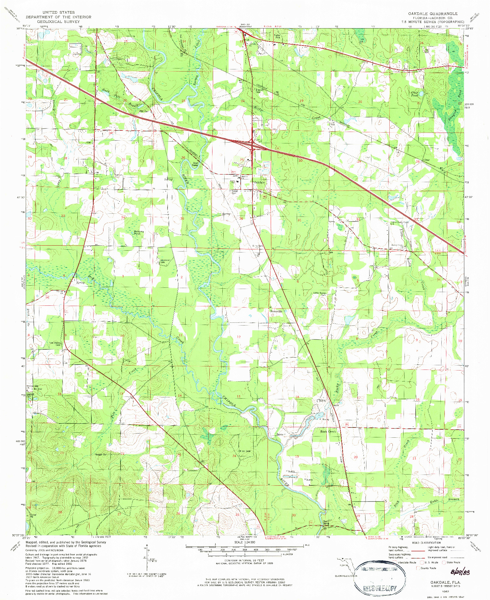 USGS 1:24000-SCALE QUADRANGLE FOR OAKDALE, FL 1982