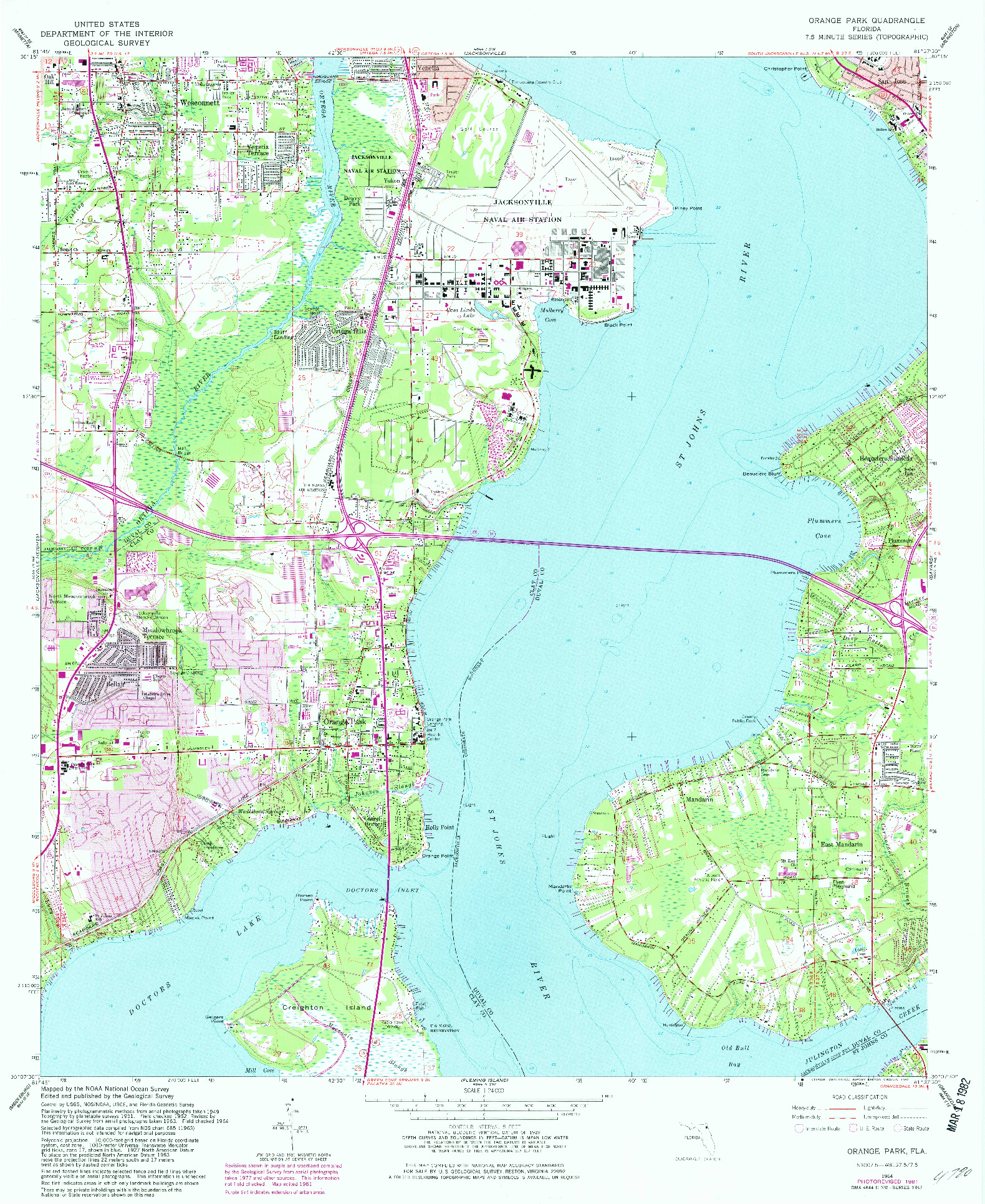 USGS 1:24000-SCALE QUADRANGLE FOR ORANGE PARK, FL 1964