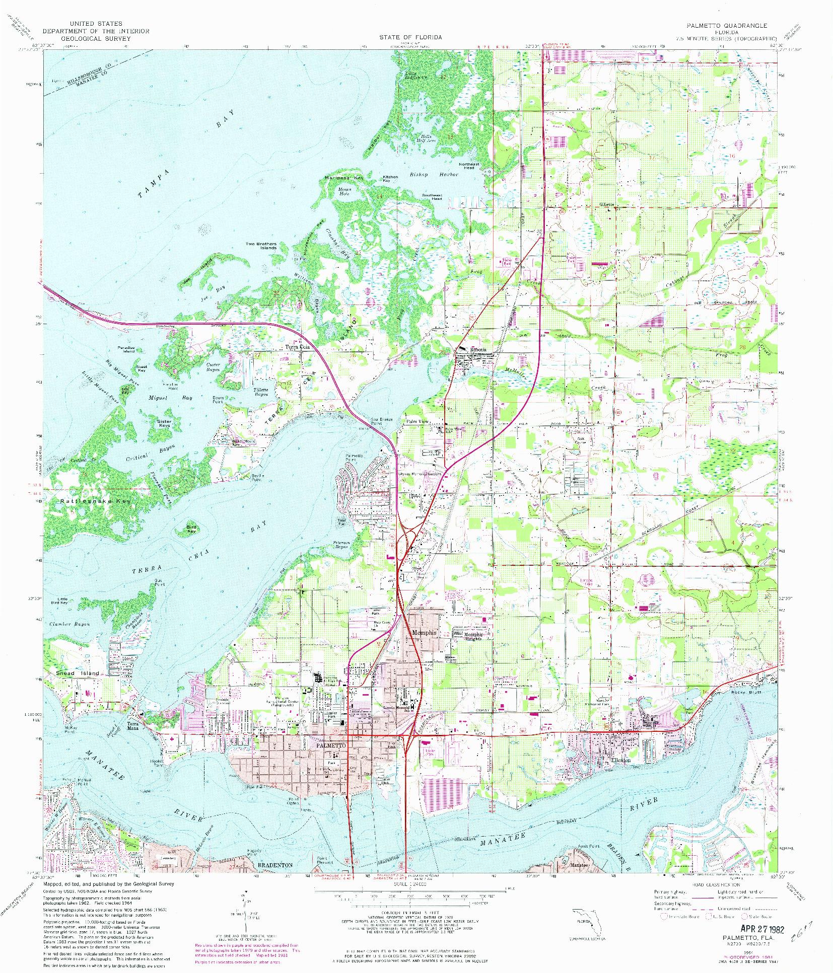 USGS 1:24000-SCALE QUADRANGLE FOR PALMETTO, FL 1964