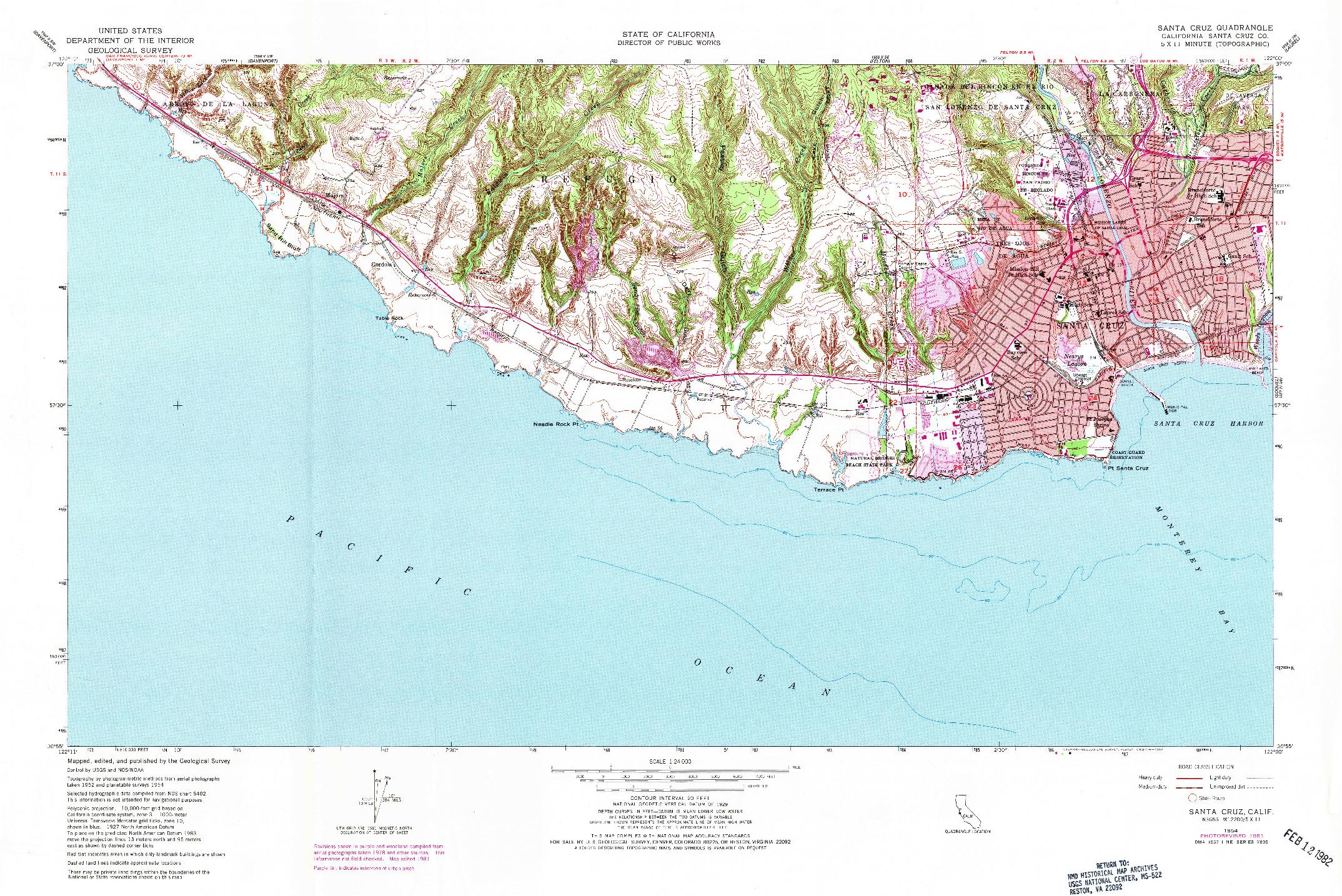 USGS 1:24000-SCALE QUADRANGLE FOR SANTA CRUZ, CA 1954