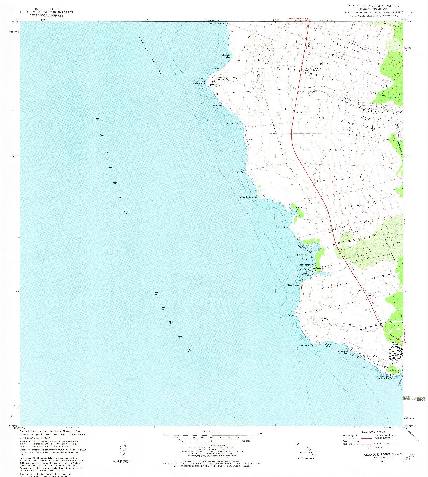 USGS 1:24000-SCALE QUADRANGLE FOR KEAHOLE POINT, HI 1982