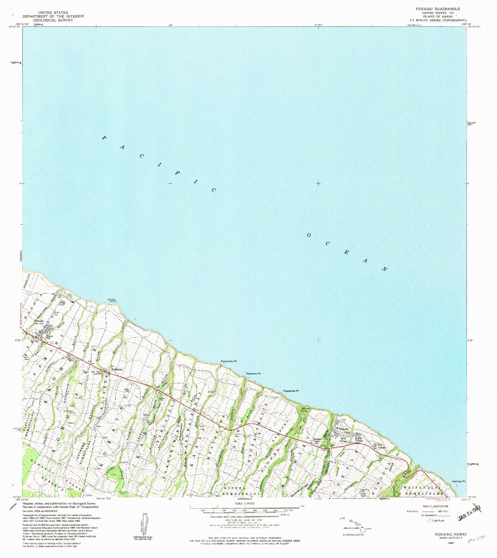 USGS 1:24000-SCALE QUADRANGLE FOR KUKAIAU, HI 1982
