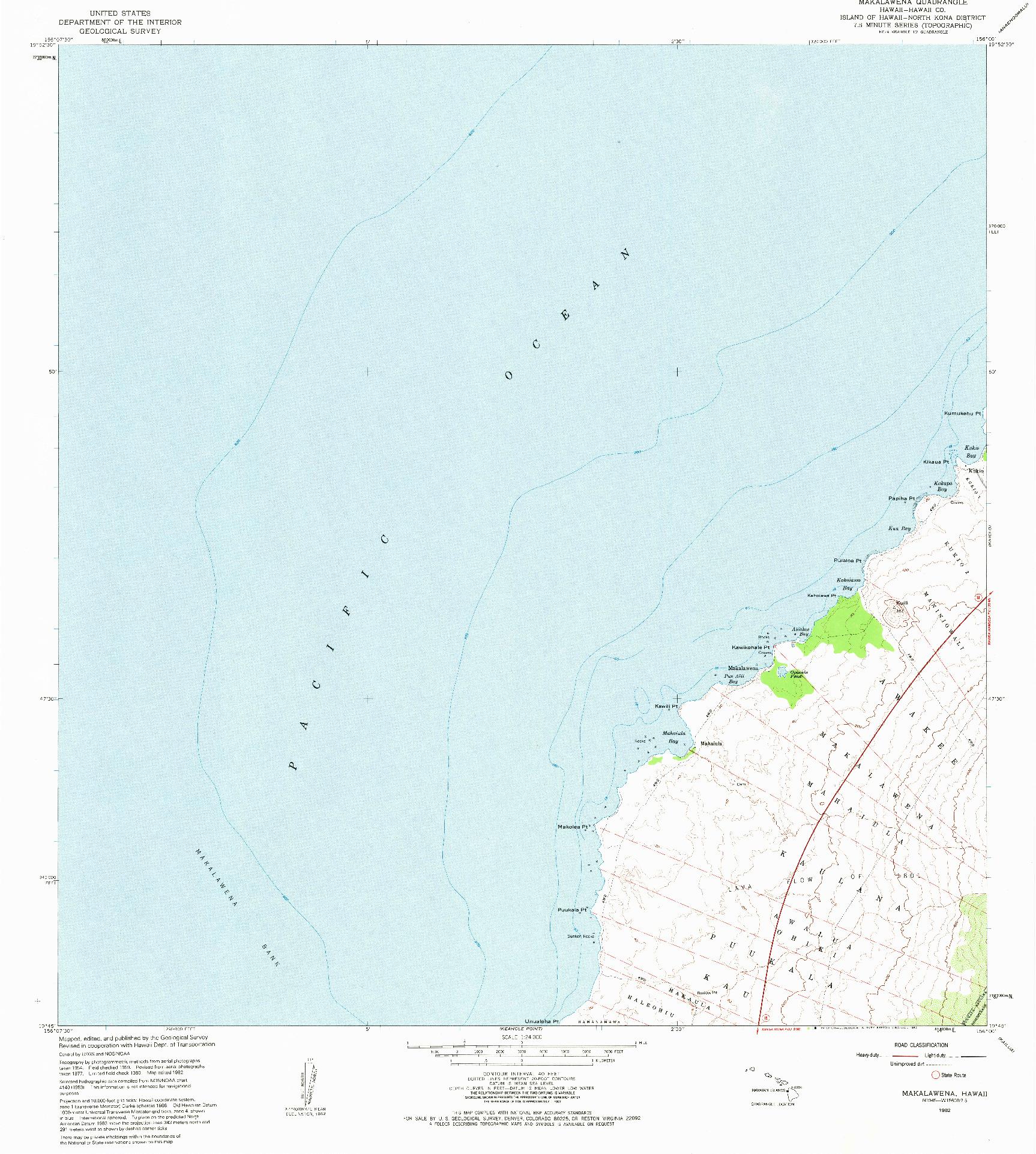USGS 1:24000-SCALE QUADRANGLE FOR MAKALAWENA, HI 1982