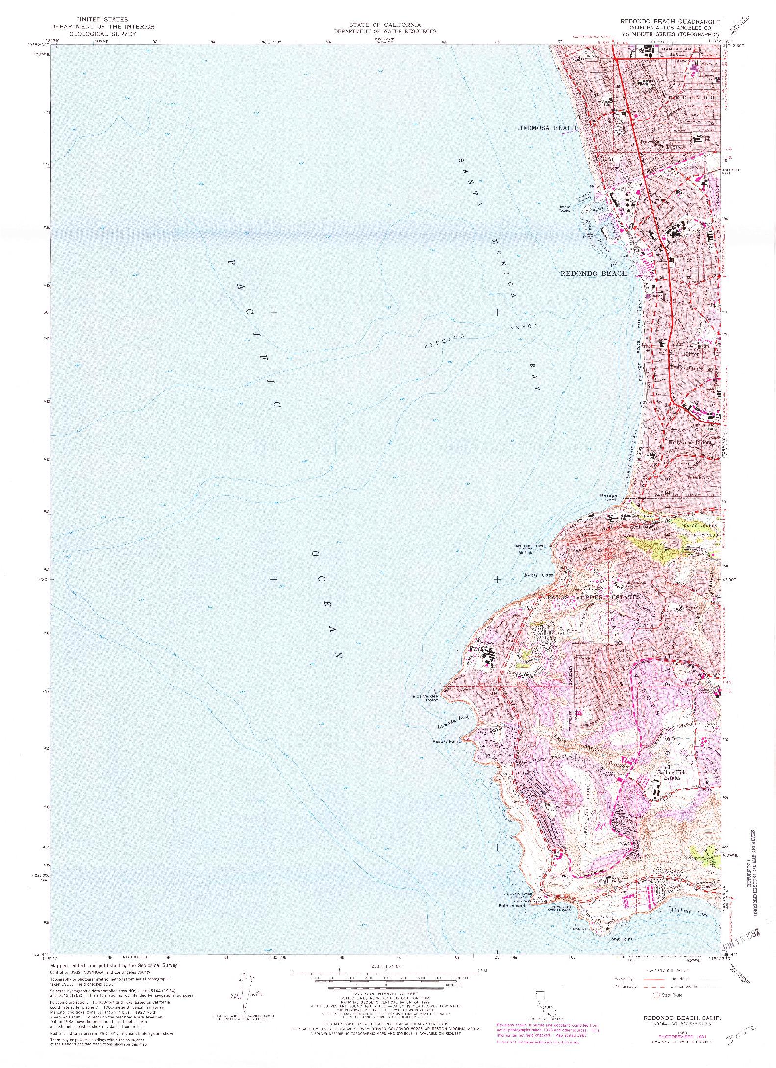 USGS 1:24000-SCALE QUADRANGLE FOR REDONDO BEACH, CA 1963