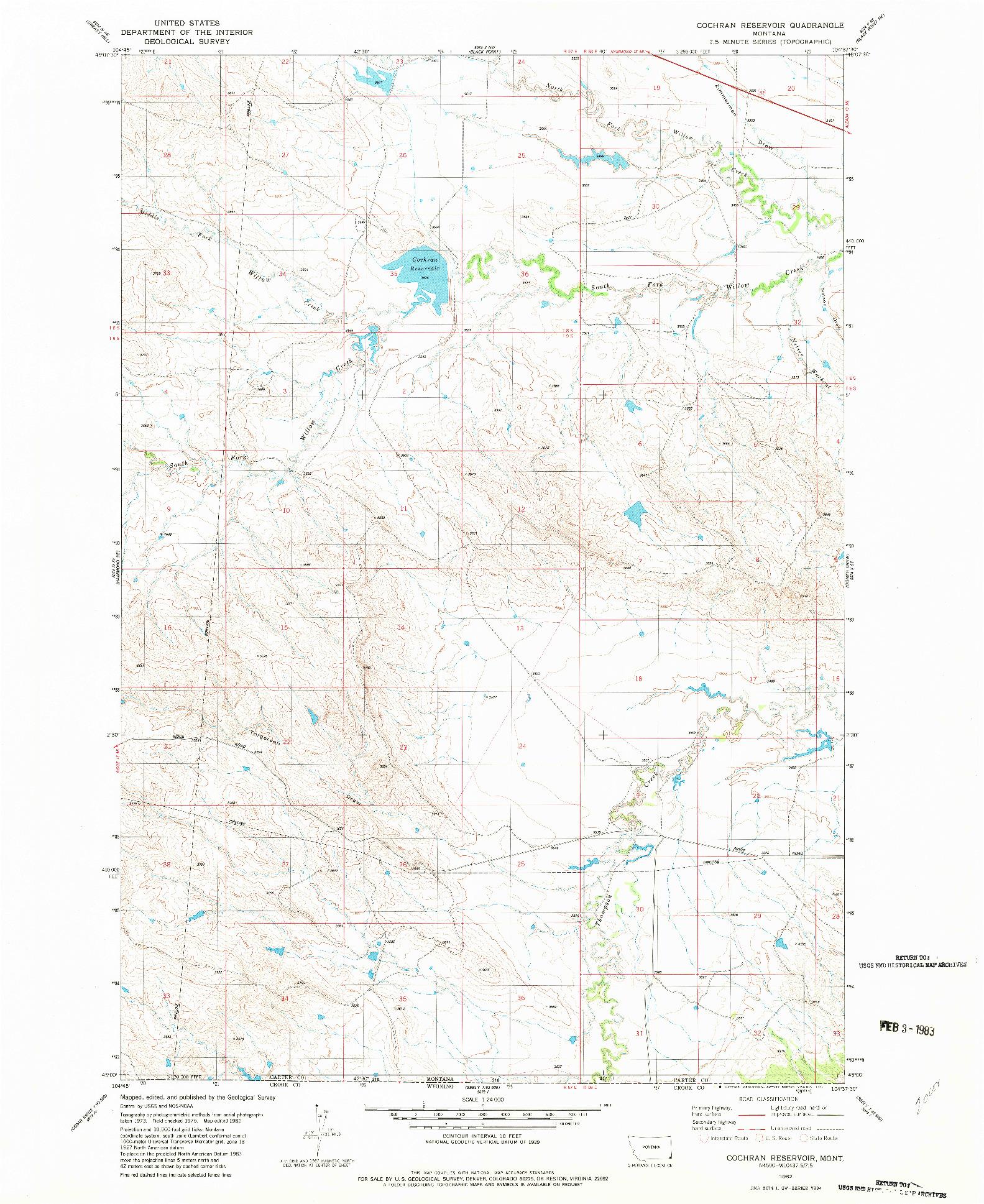USGS 1:24000-SCALE QUADRANGLE FOR COCHRAN RESERVOIR, MT 1982