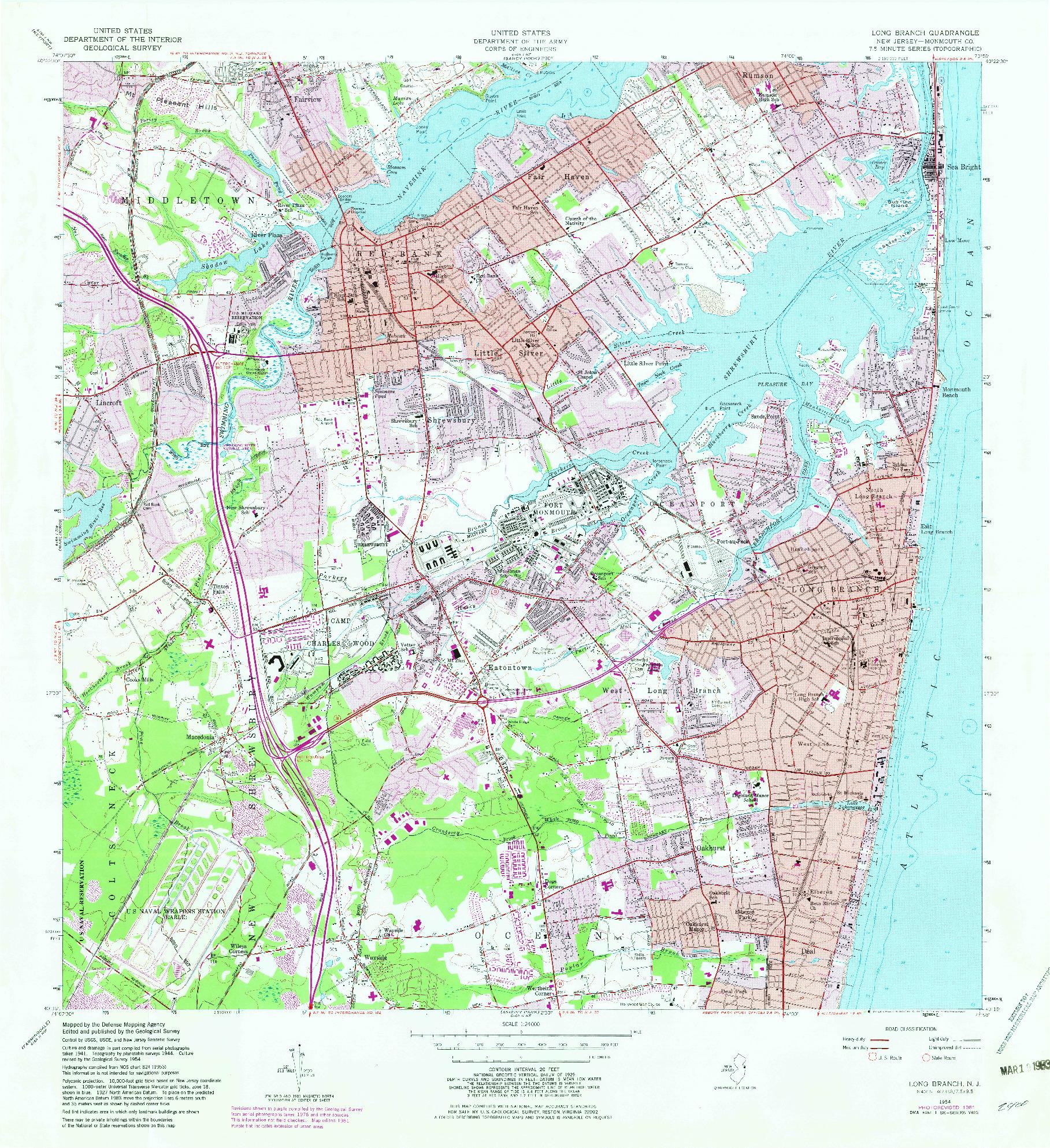 USGS 1:24000-SCALE QUADRANGLE FOR LONG BRANCH, NJ 1954