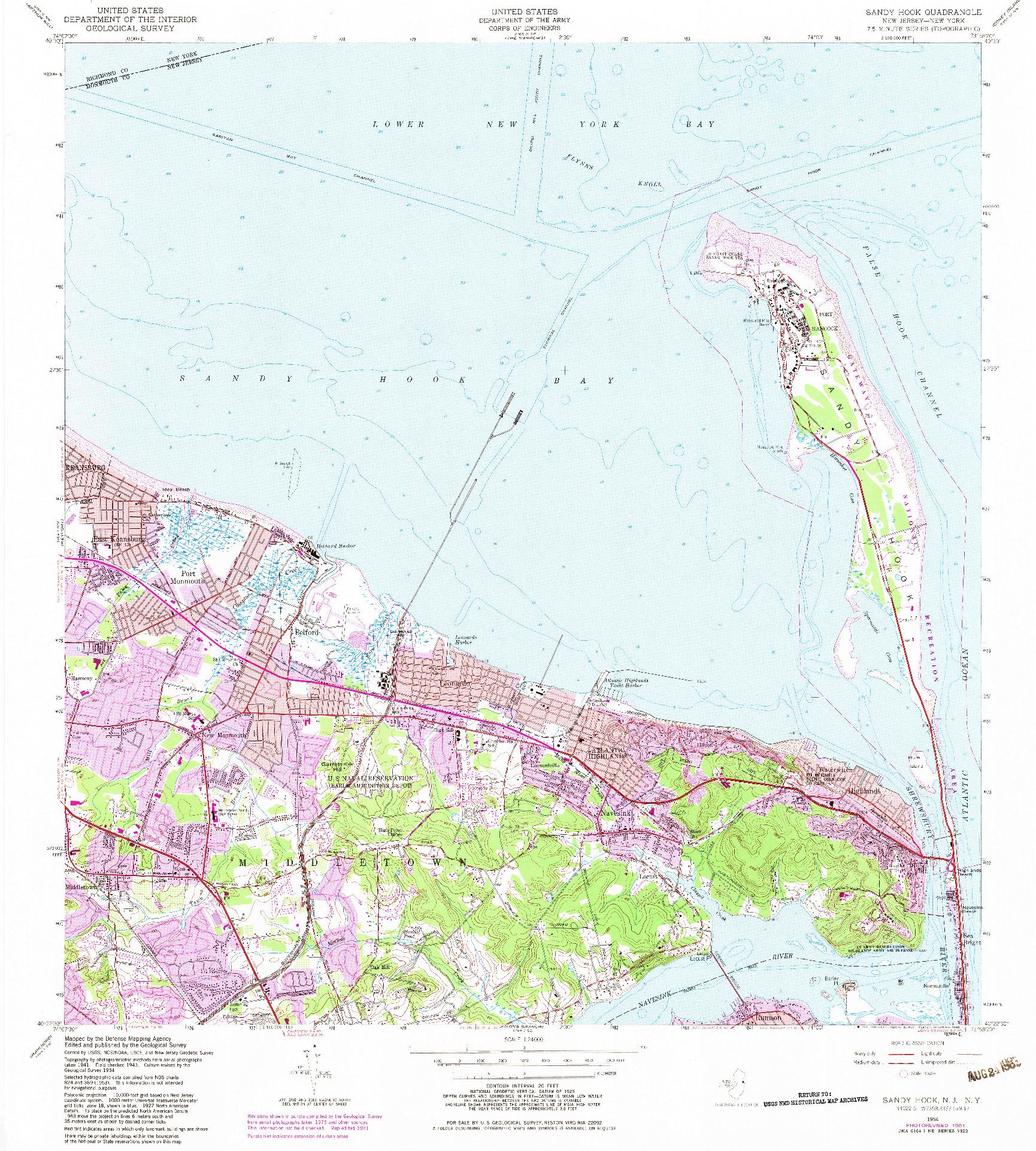 USGS 1:24000-SCALE QUADRANGLE FOR SANDY HOOK, NJ 1954