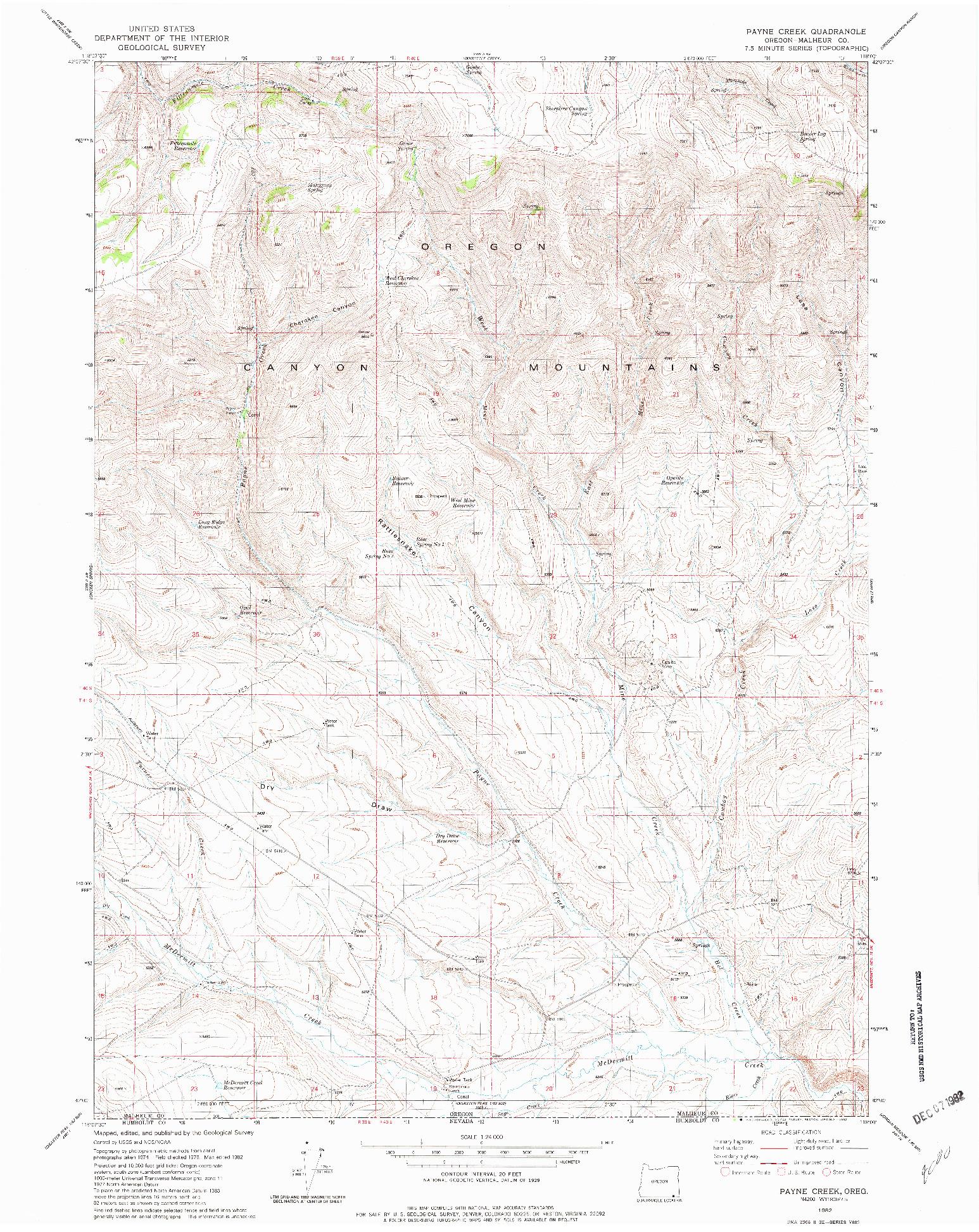 USGS 1:24000-SCALE QUADRANGLE FOR PAYNE CREEK, OR 1982