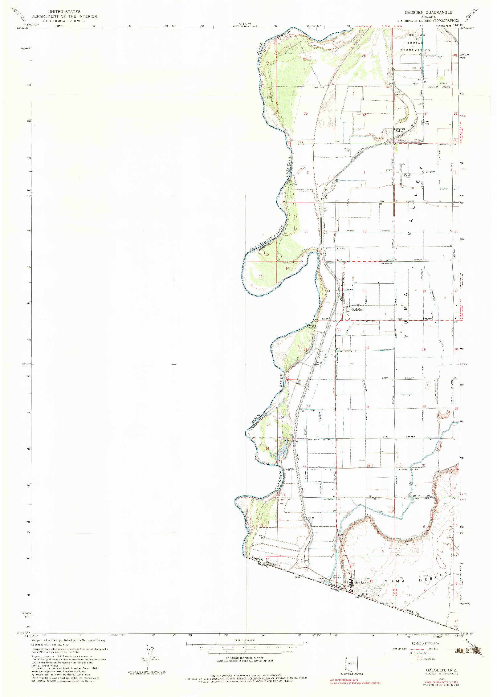 USGS 1:24000-SCALE QUADRANGLE FOR GADSDEN, AZ 1965