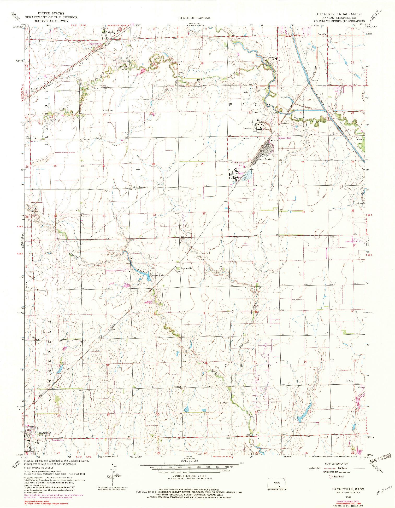 USGS 1:24000-SCALE QUADRANGLE FOR BAYNEVILLE, KS 1961
