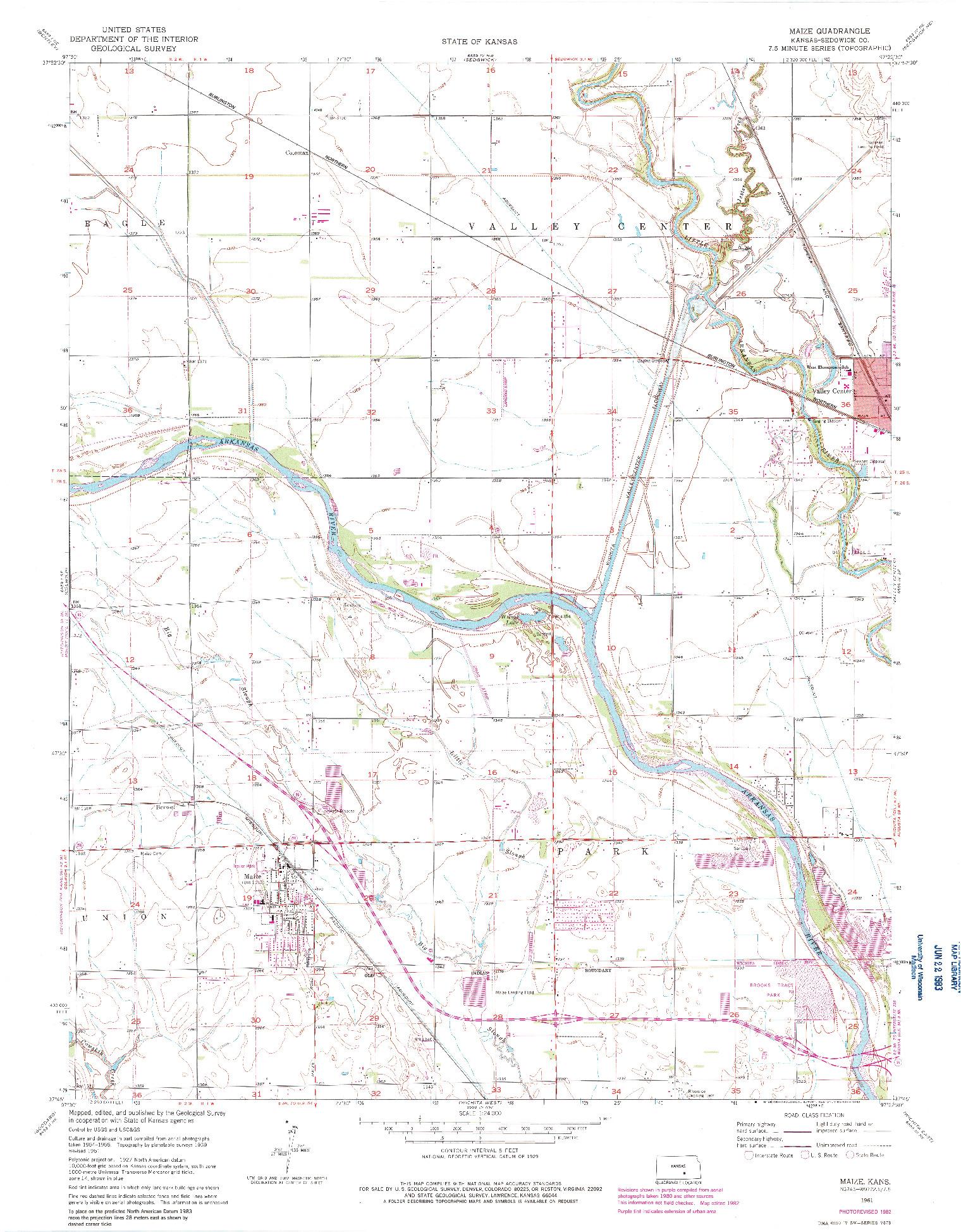 USGS 1:24000-SCALE QUADRANGLE FOR MAIZE, KS 1961