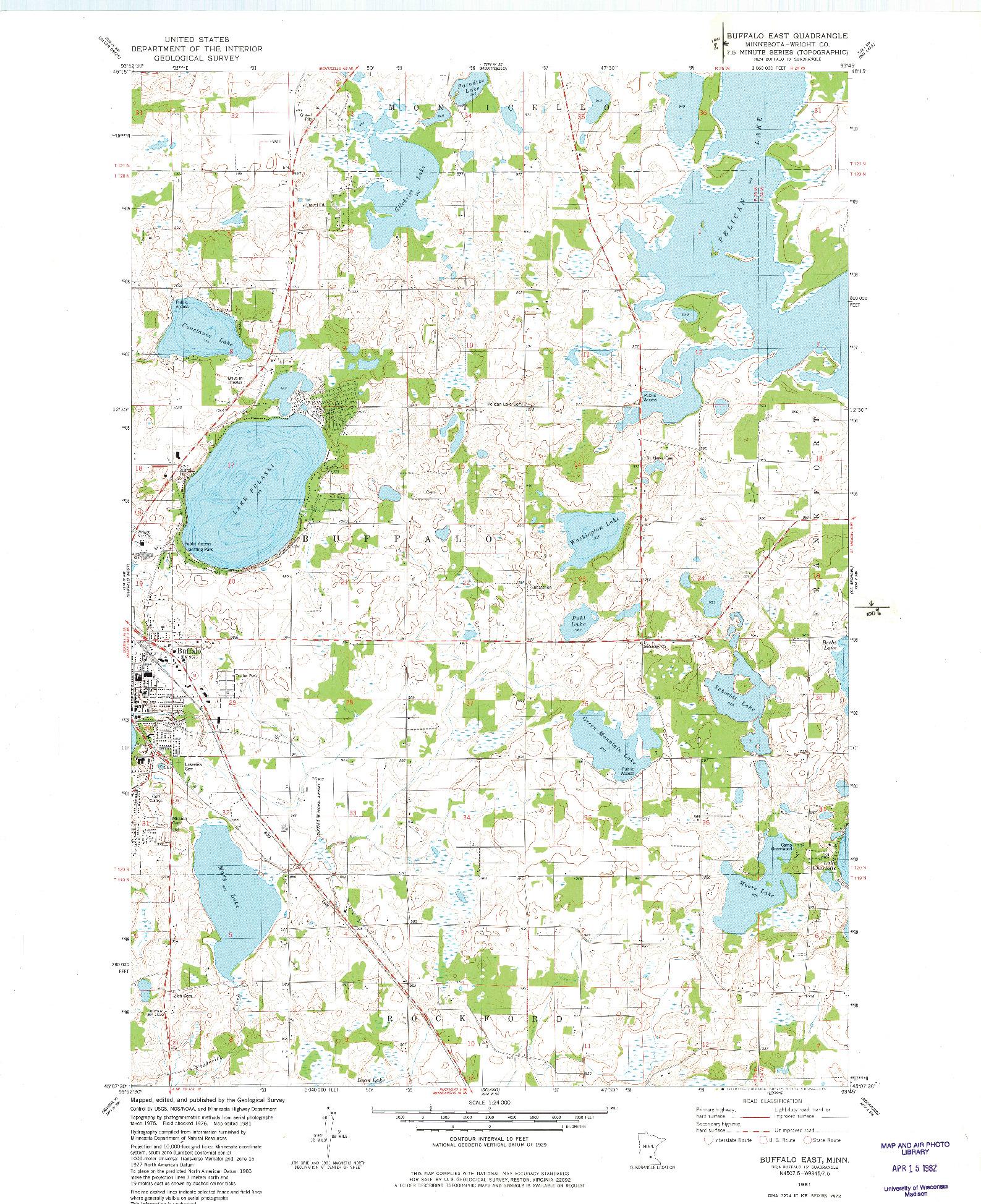 USGS 1:24000-SCALE QUADRANGLE FOR BUFFALO EAST, MN 1981