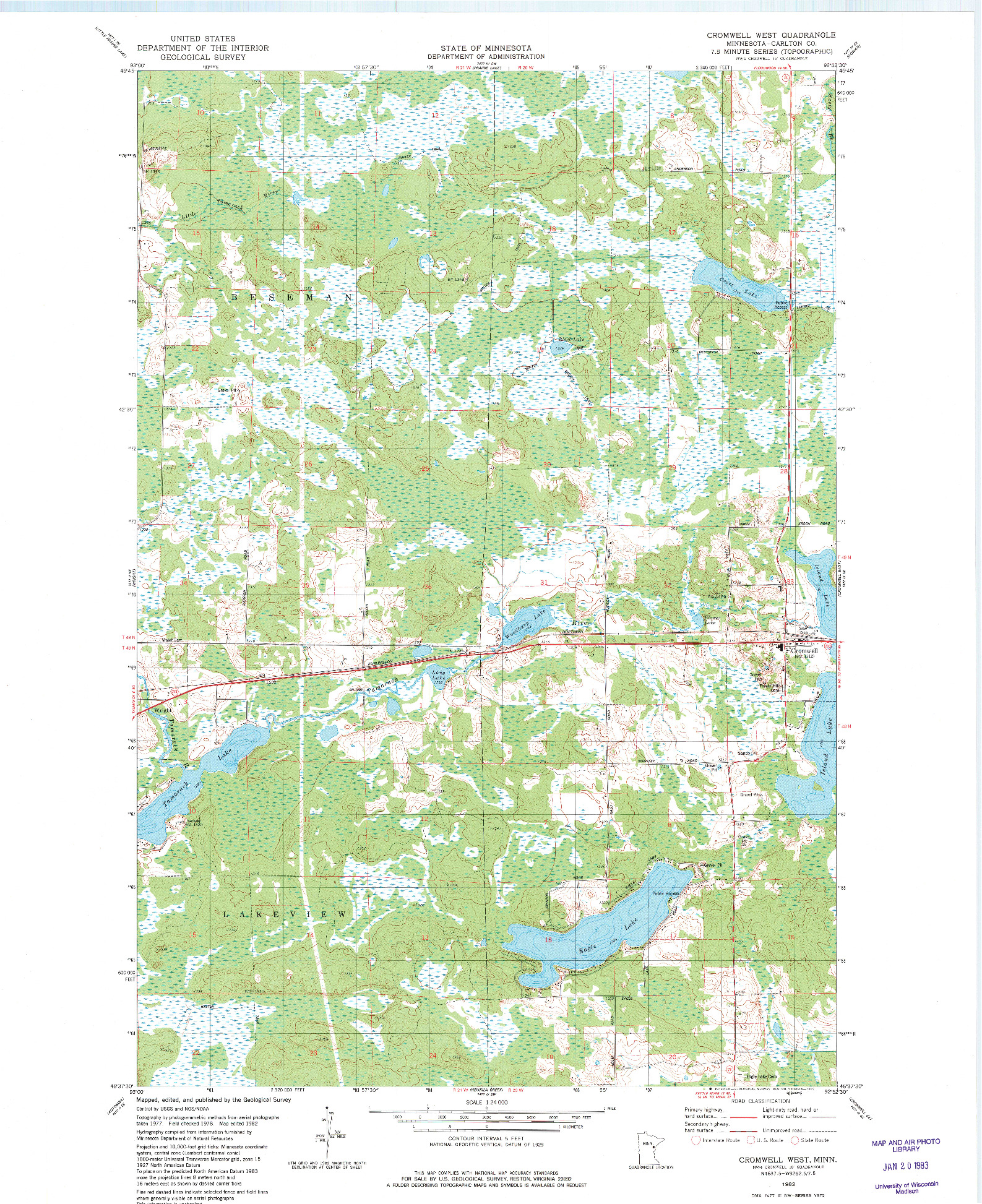 USGS 1:24000-SCALE QUADRANGLE FOR CROMWELL WEST, MN 1982
