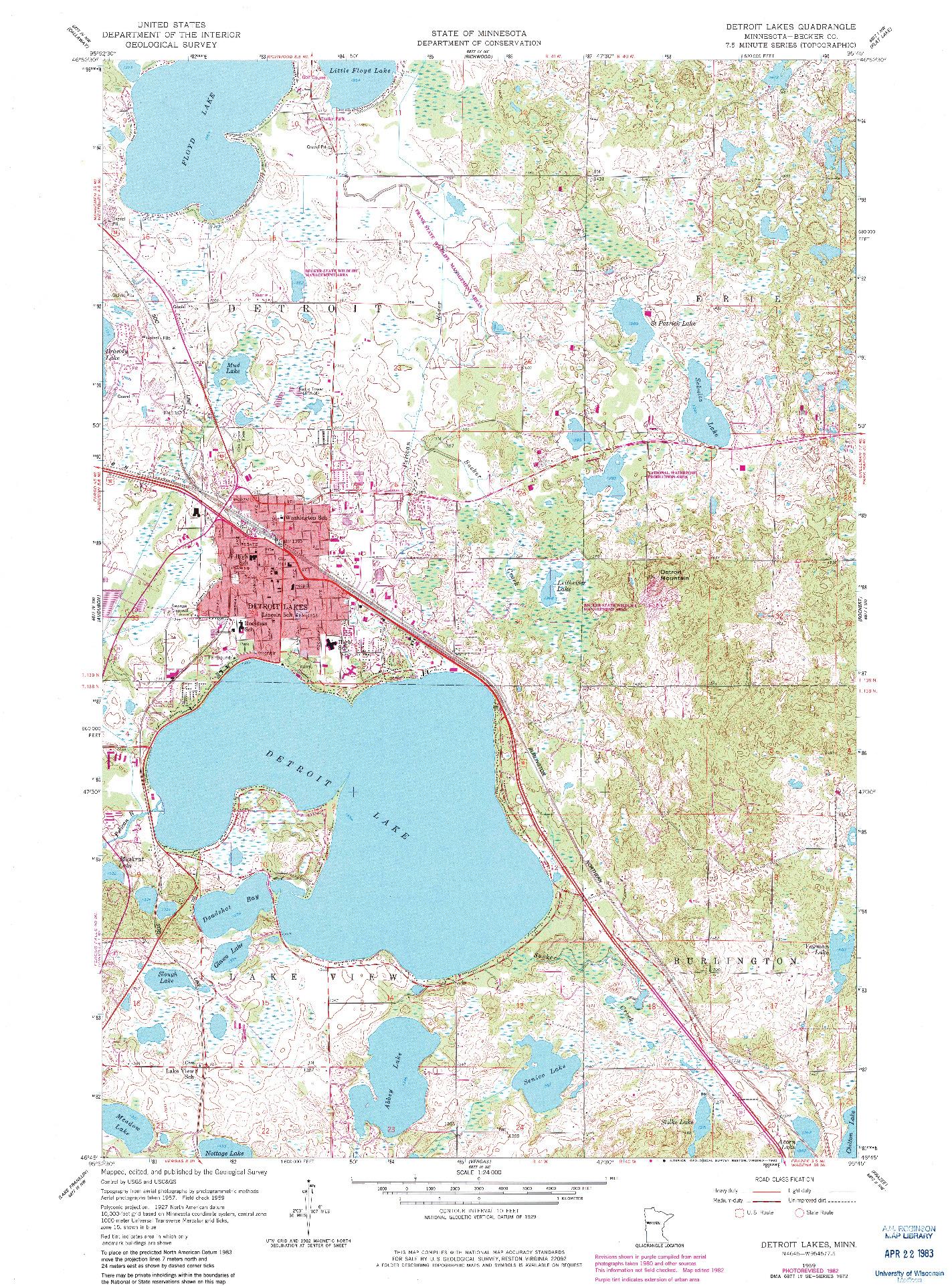 USGS 1:24000-SCALE QUADRANGLE FOR DETROIT LAKES, MN 1959