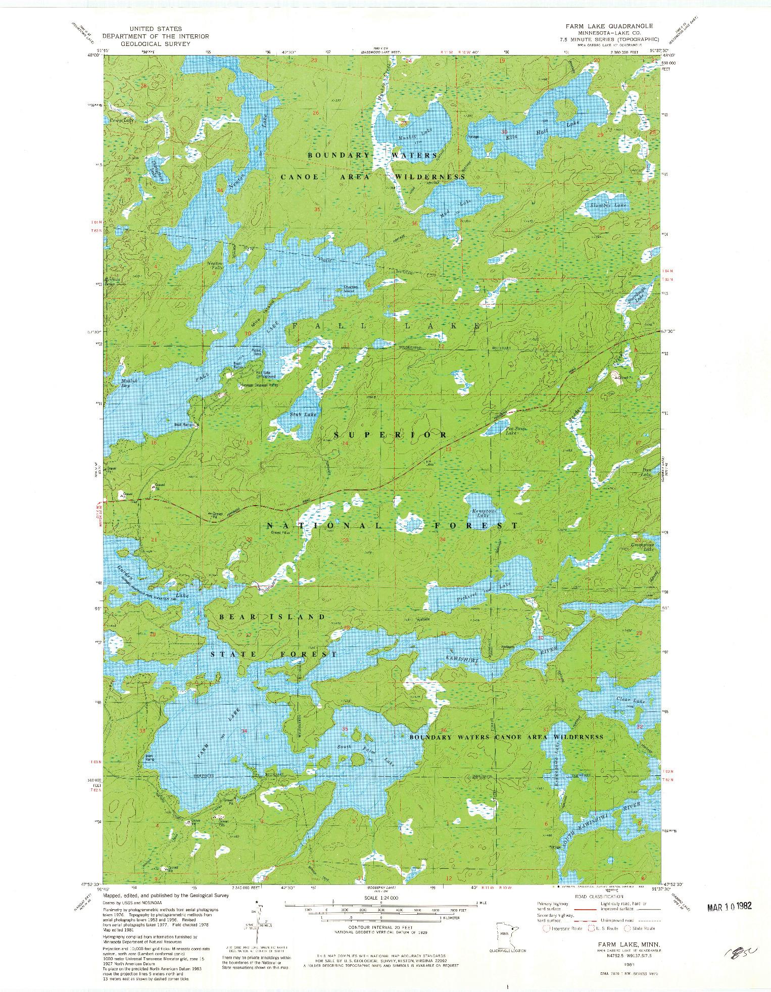 USGS 1:24000-SCALE QUADRANGLE FOR FARM LAKE, MN 1981