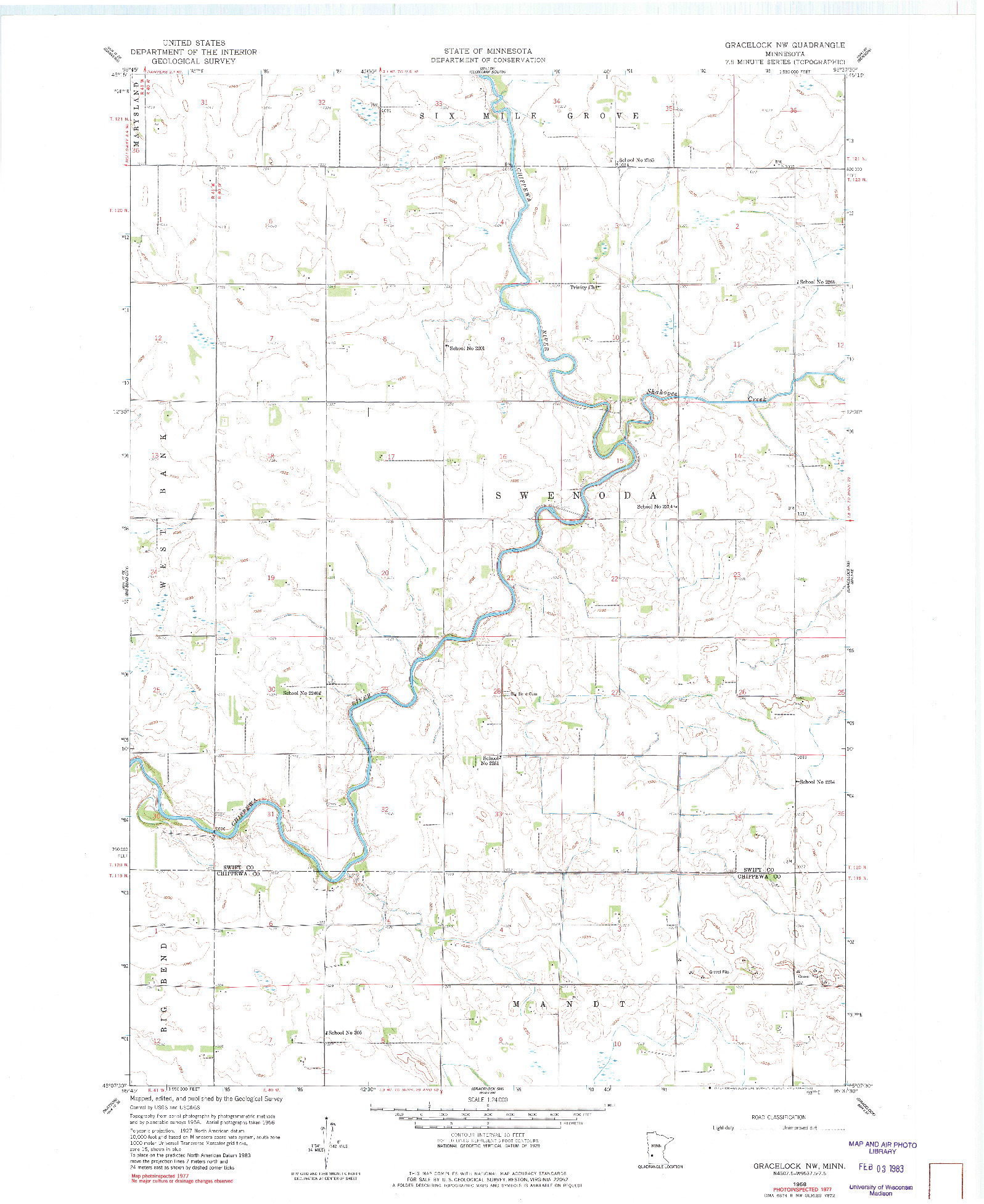 USGS 1:24000-SCALE QUADRANGLE FOR GRACELOCK NW, MN 1958