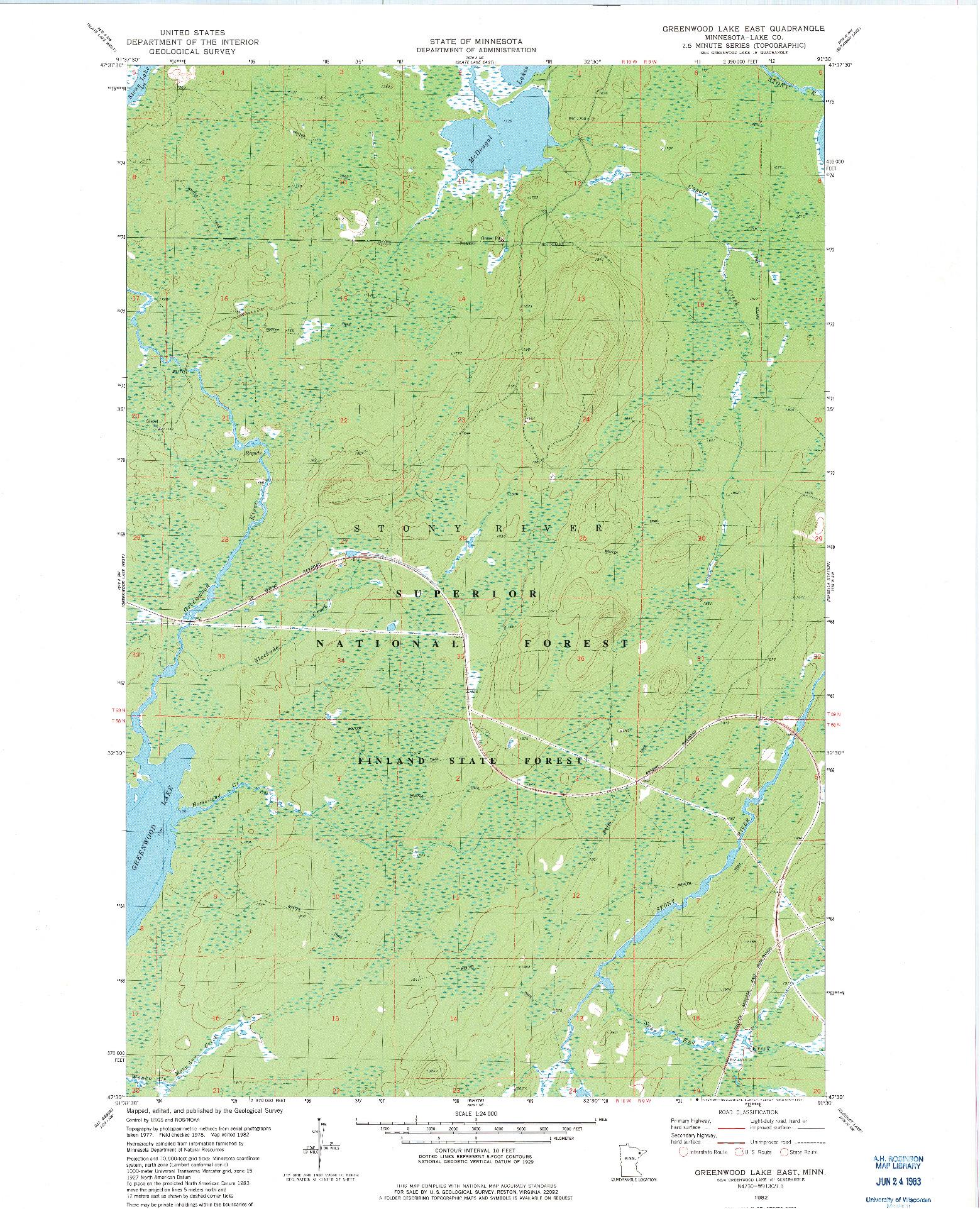 USGS 1:24000-SCALE QUADRANGLE FOR GREENWOOD LAKE EAST, MN 1982