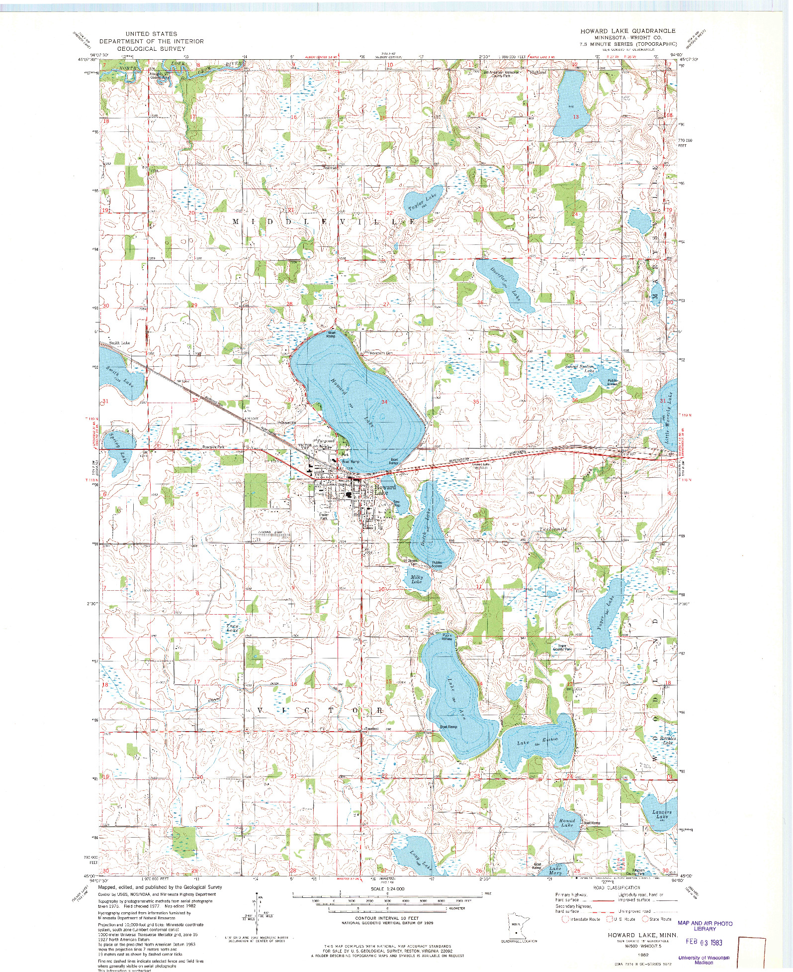 USGS 1:24000-SCALE QUADRANGLE FOR HOWARD LAKE, MN 1982