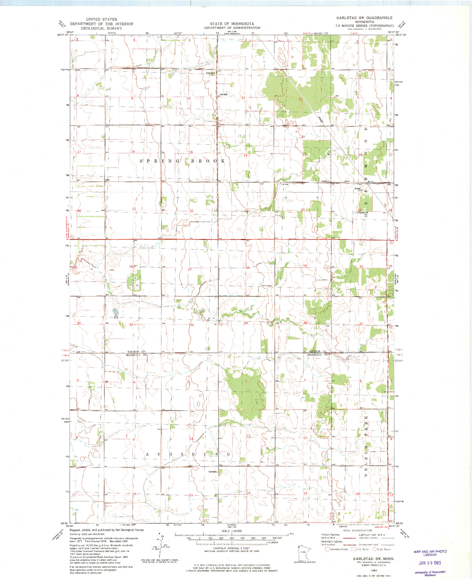 USGS 1:24000-SCALE QUADRANGLE FOR KARLSTAD SW, MN 1982