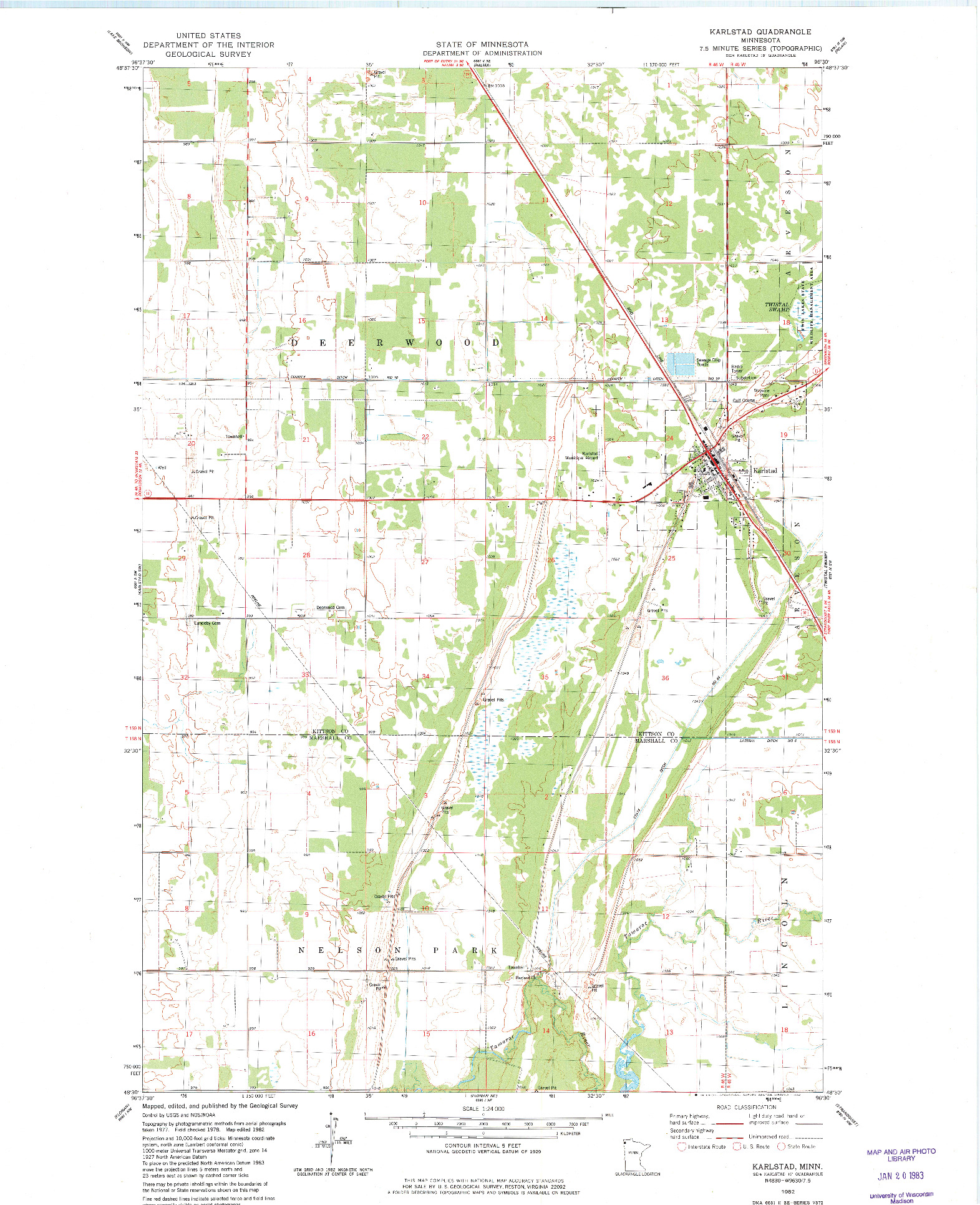 USGS 1:24000-SCALE QUADRANGLE FOR KARLSTAD, MN 1982