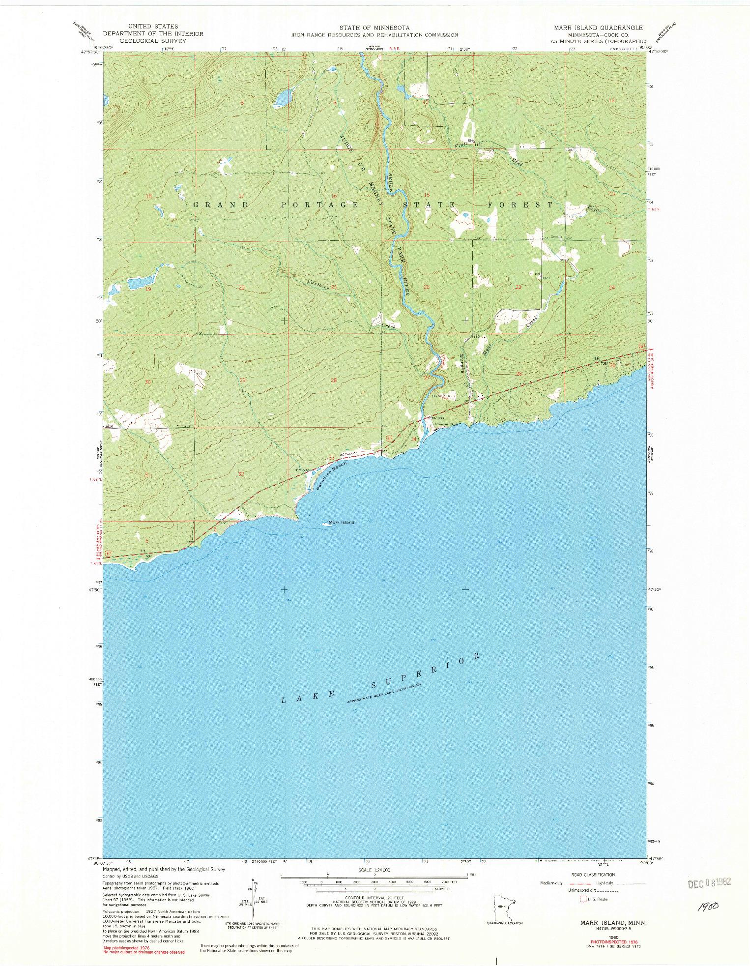 USGS 1:24000-SCALE QUADRANGLE FOR MARR ISLAND, MN 1960