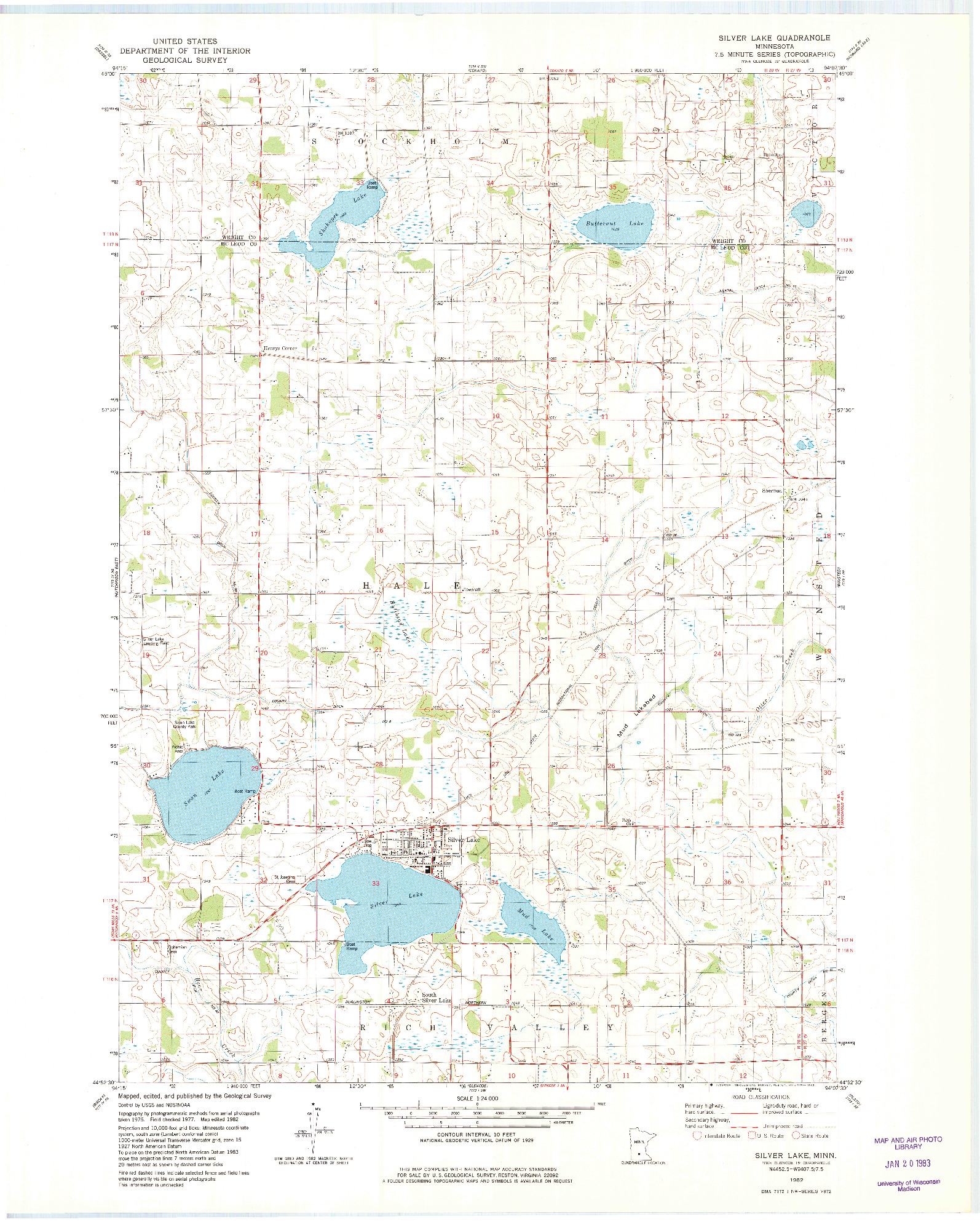USGS 1:24000-SCALE QUADRANGLE FOR SILVER LAKE, MN 1982