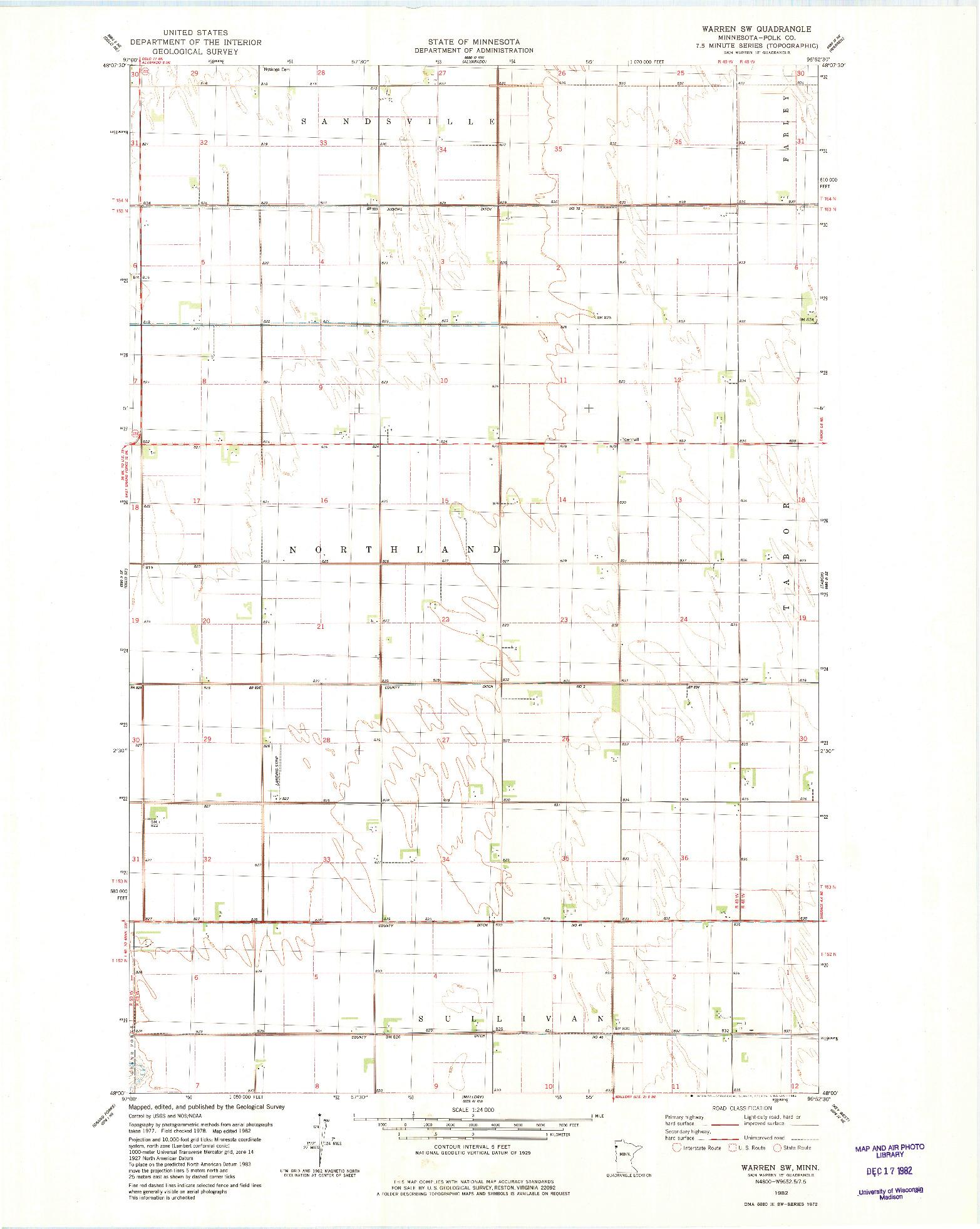 USGS 1:24000-SCALE QUADRANGLE FOR WARREN SW, MN 1982