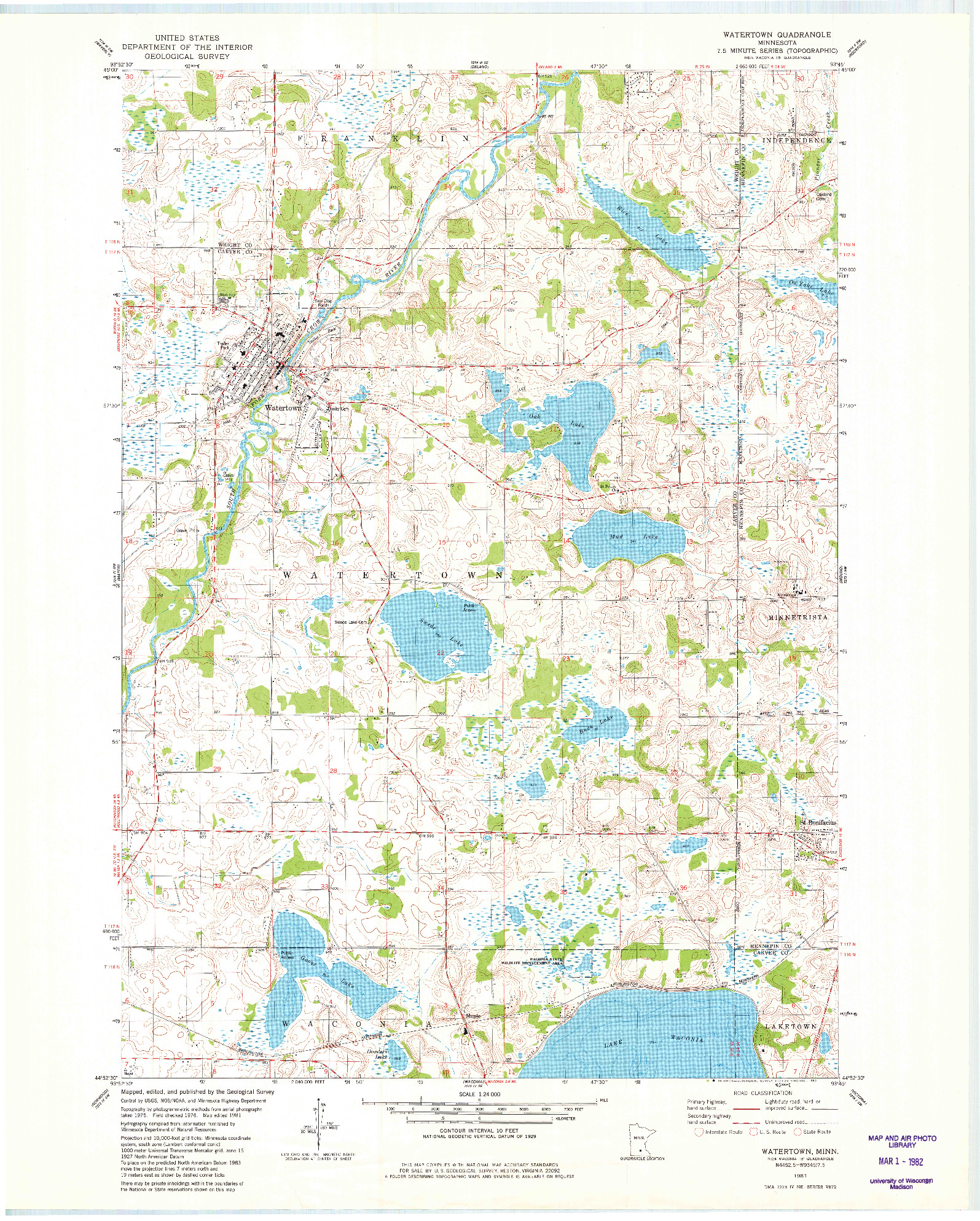 USGS 1:24000-SCALE QUADRANGLE FOR WATERTOWN, MN 1981