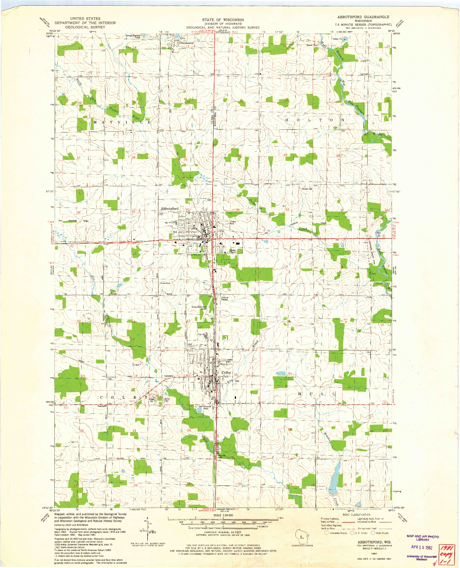 USGS 1:24000-SCALE QUADRANGLE FOR ABBOTSFORD, WI 1981