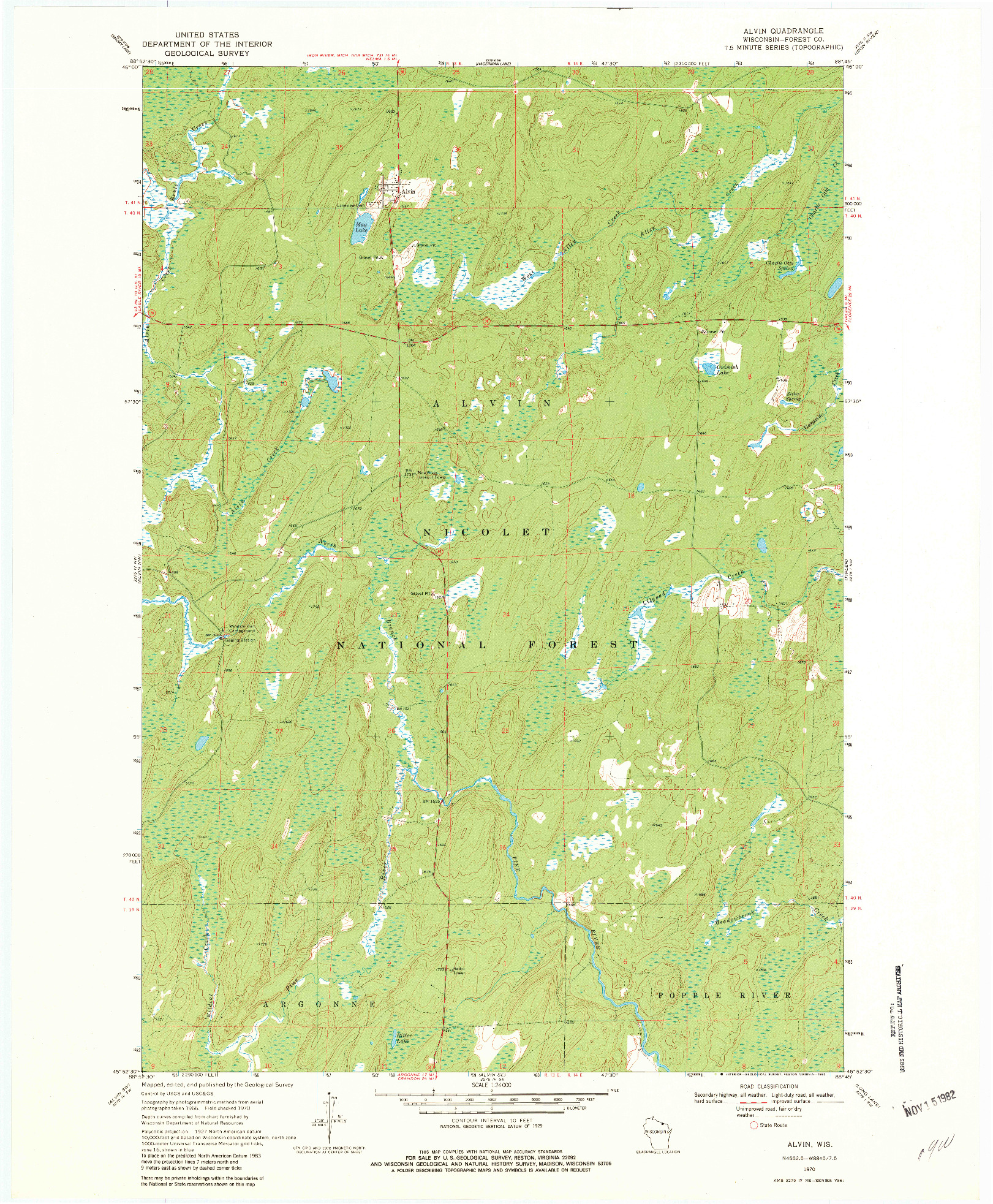USGS 1:24000-SCALE QUADRANGLE FOR ALVIN, WI 1970