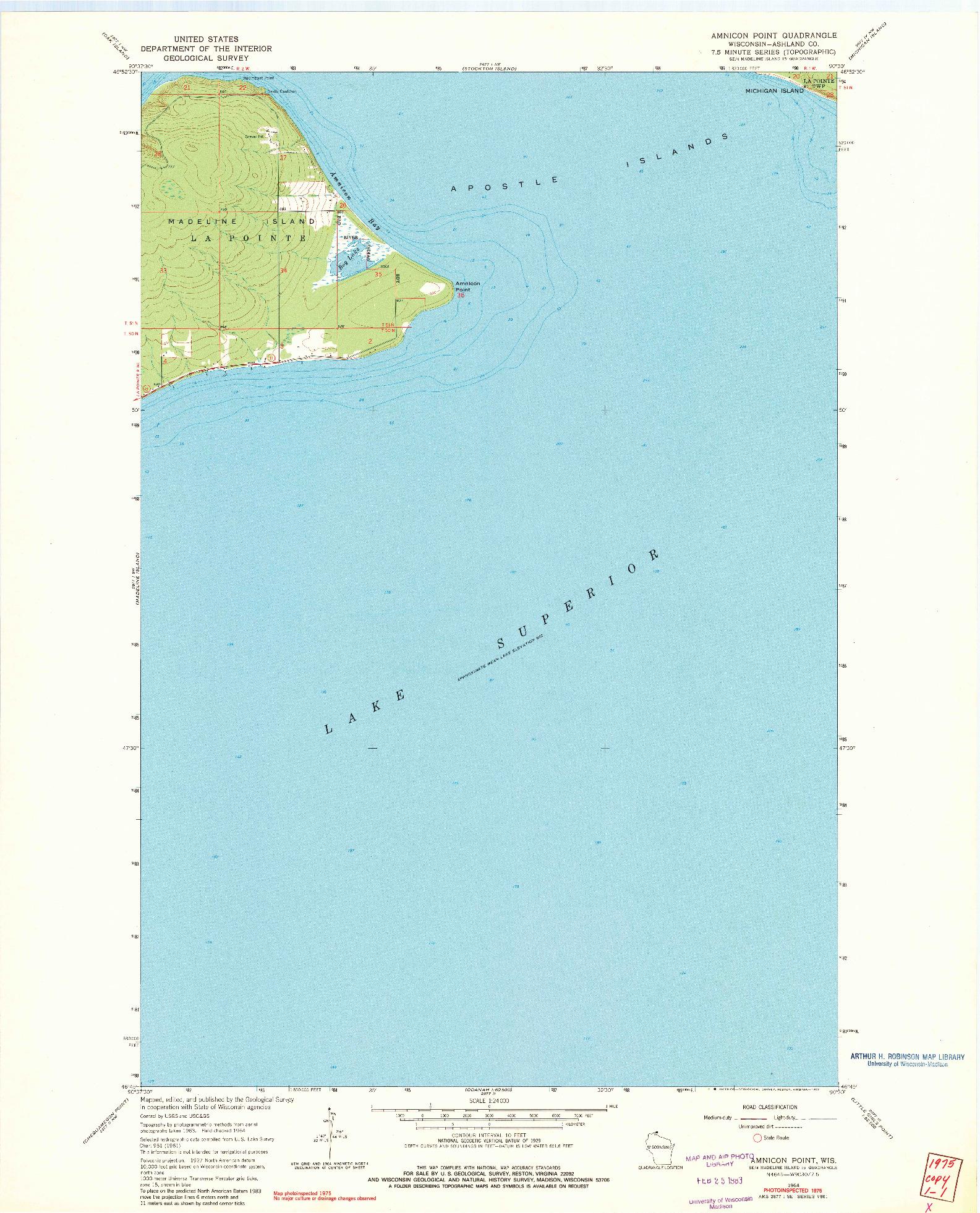 USGS 1:24000-SCALE QUADRANGLE FOR AMNICON POINT, WI 1964