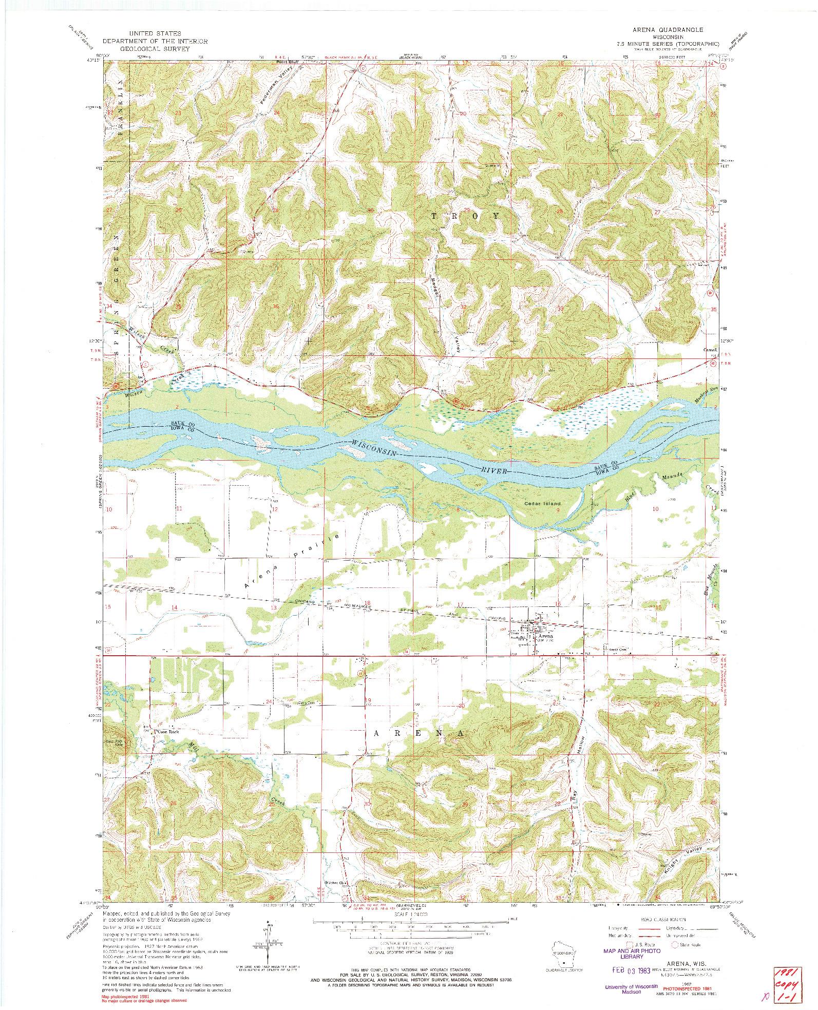 USGS 1:24000-SCALE QUADRANGLE FOR ARENA, WI 1962