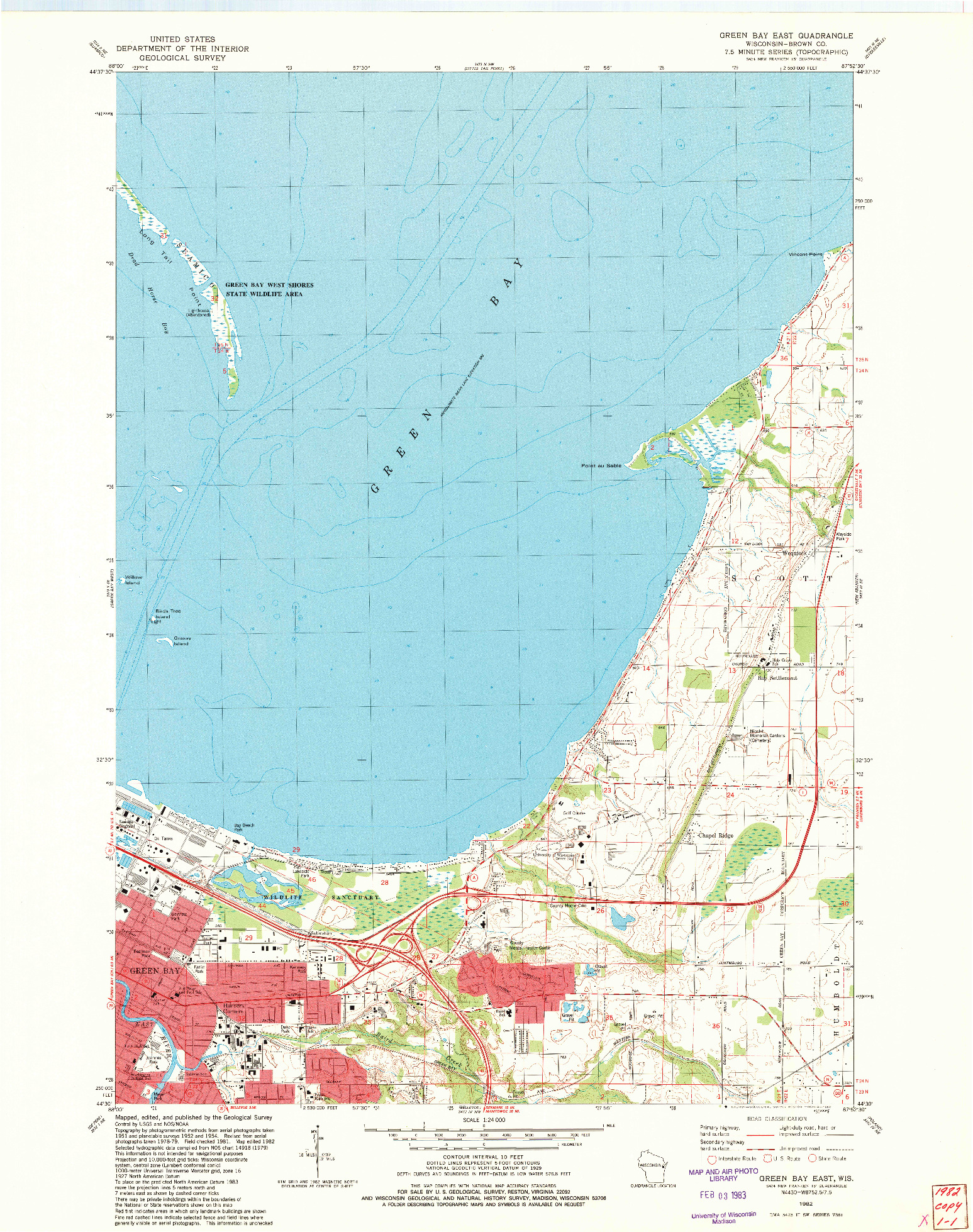 USGS 1:24000-SCALE QUADRANGLE FOR GREEN BAY EAST, WI 1982
