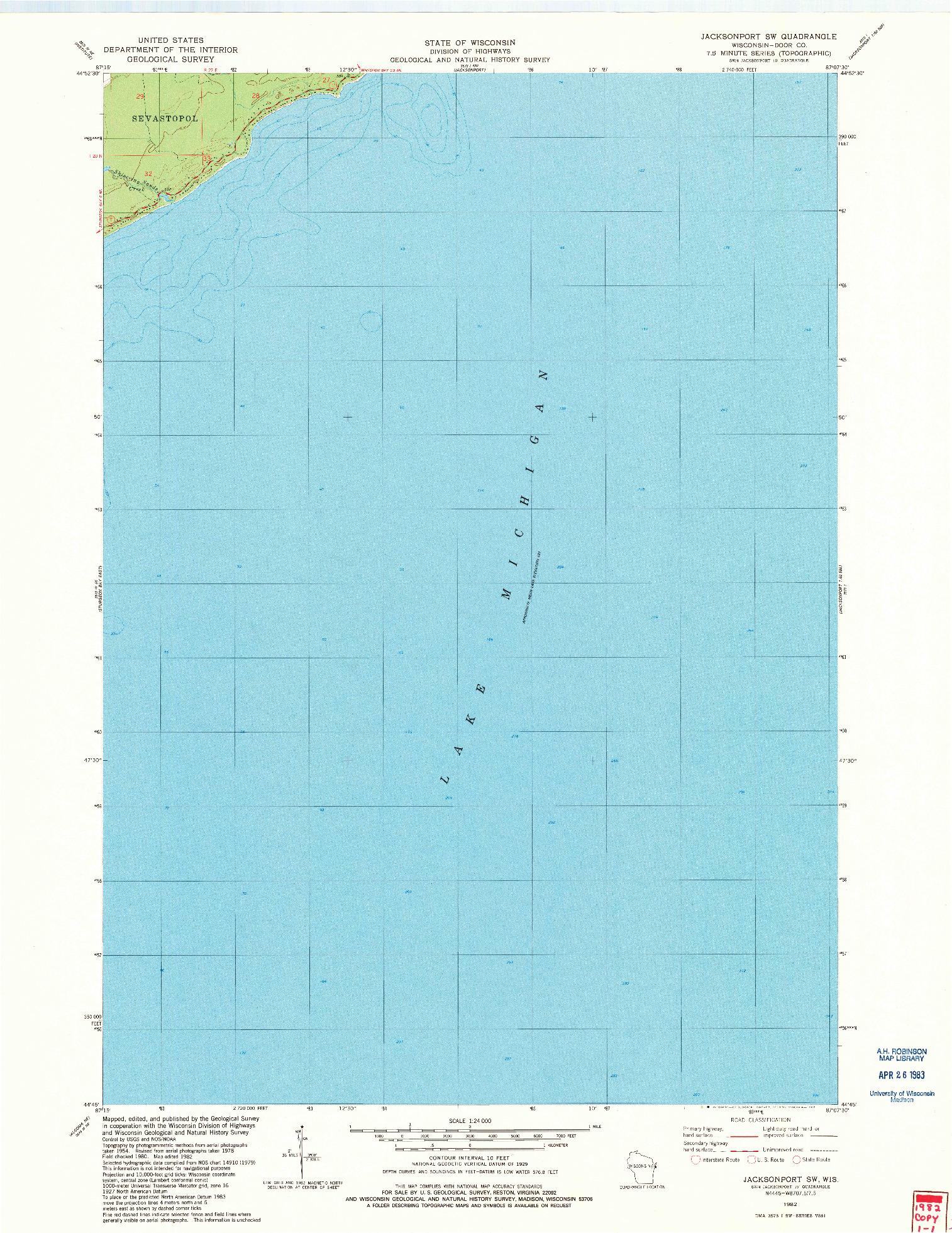 USGS 1:24000-SCALE QUADRANGLE FOR JACKSONPORT SW, WI 1982