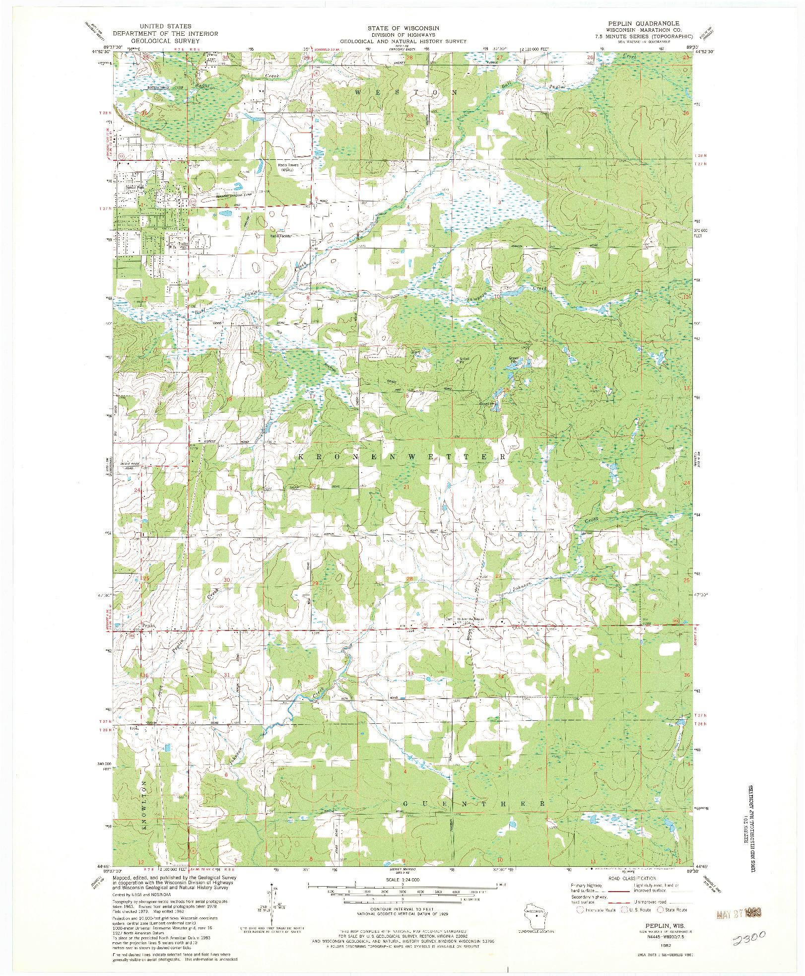 USGS 1:24000-SCALE QUADRANGLE FOR PEPLIN, WI 1982