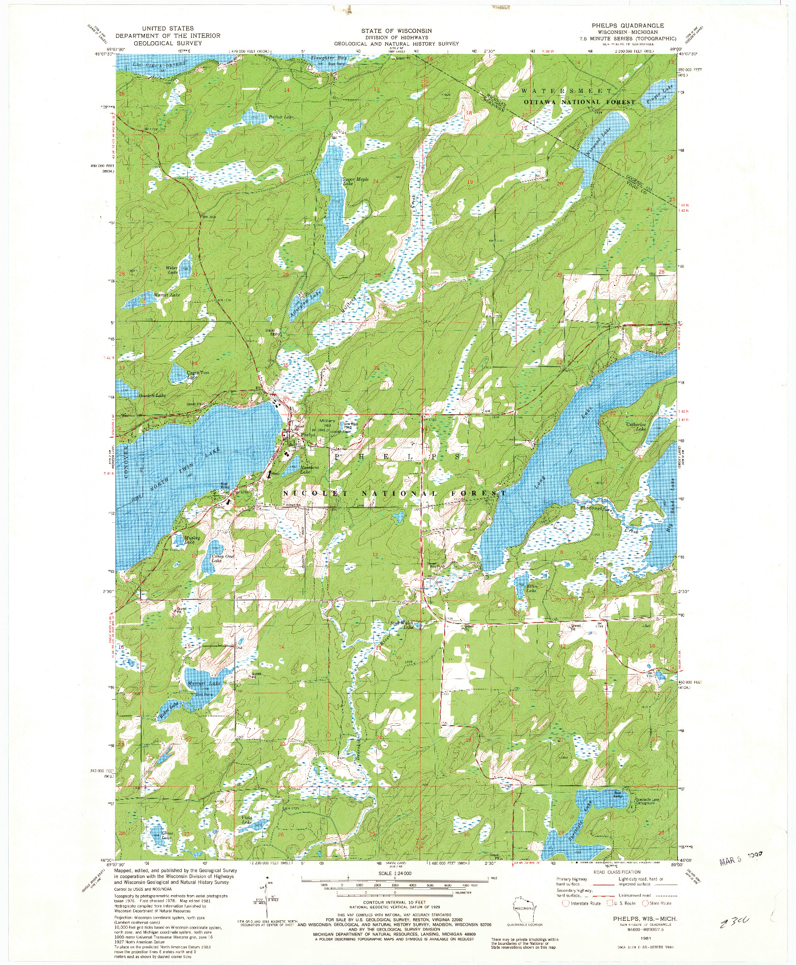 USGS 1:24000-SCALE QUADRANGLE FOR PHELPS, WI 1981