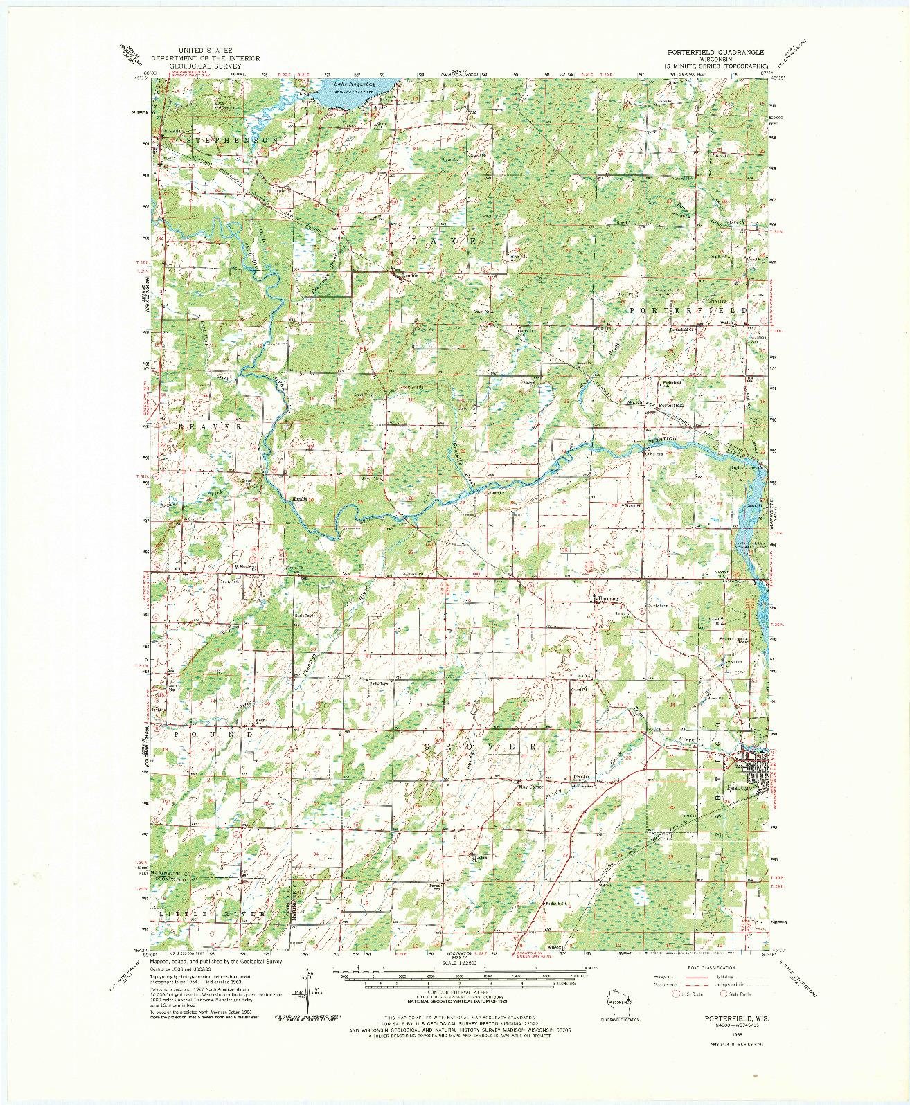 USGS 1:62500-SCALE QUADRANGLE FOR PORTERFIELD, WI 1963