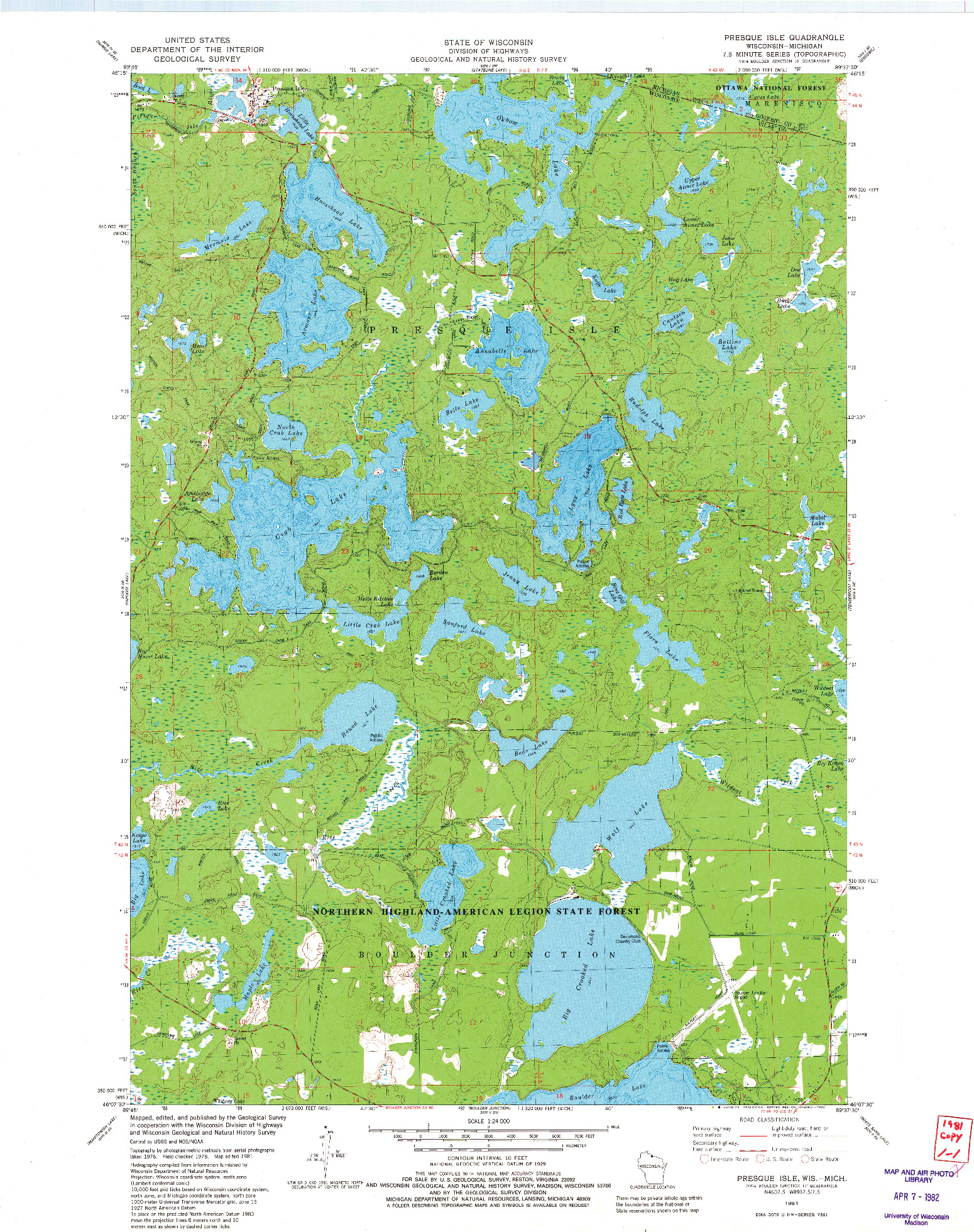 USGS 1:24000-SCALE QUADRANGLE FOR PRESQUE ISLE, WI 1981